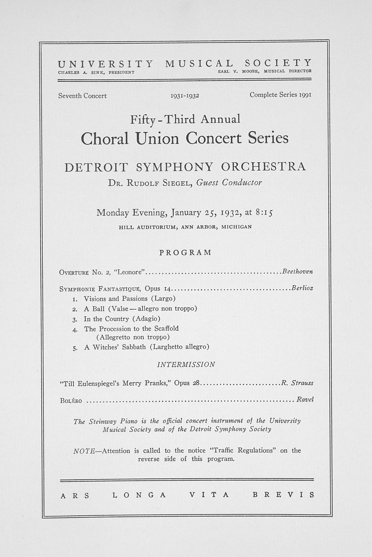 UMS Concert Program, January 25, 1932: Fifty-third Annual Choral Union Concert Series -- Detroit Symphony Orchestra image