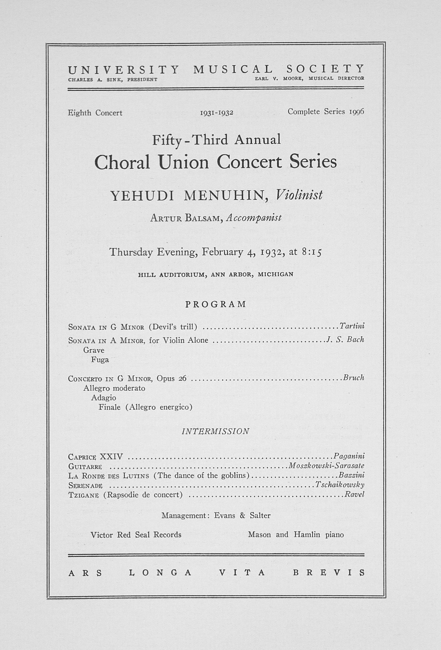 UMS Concert Program, February 4, 1932: Fifty-third Annual Choral Union Concert Series -- Yehudi Menuhin image