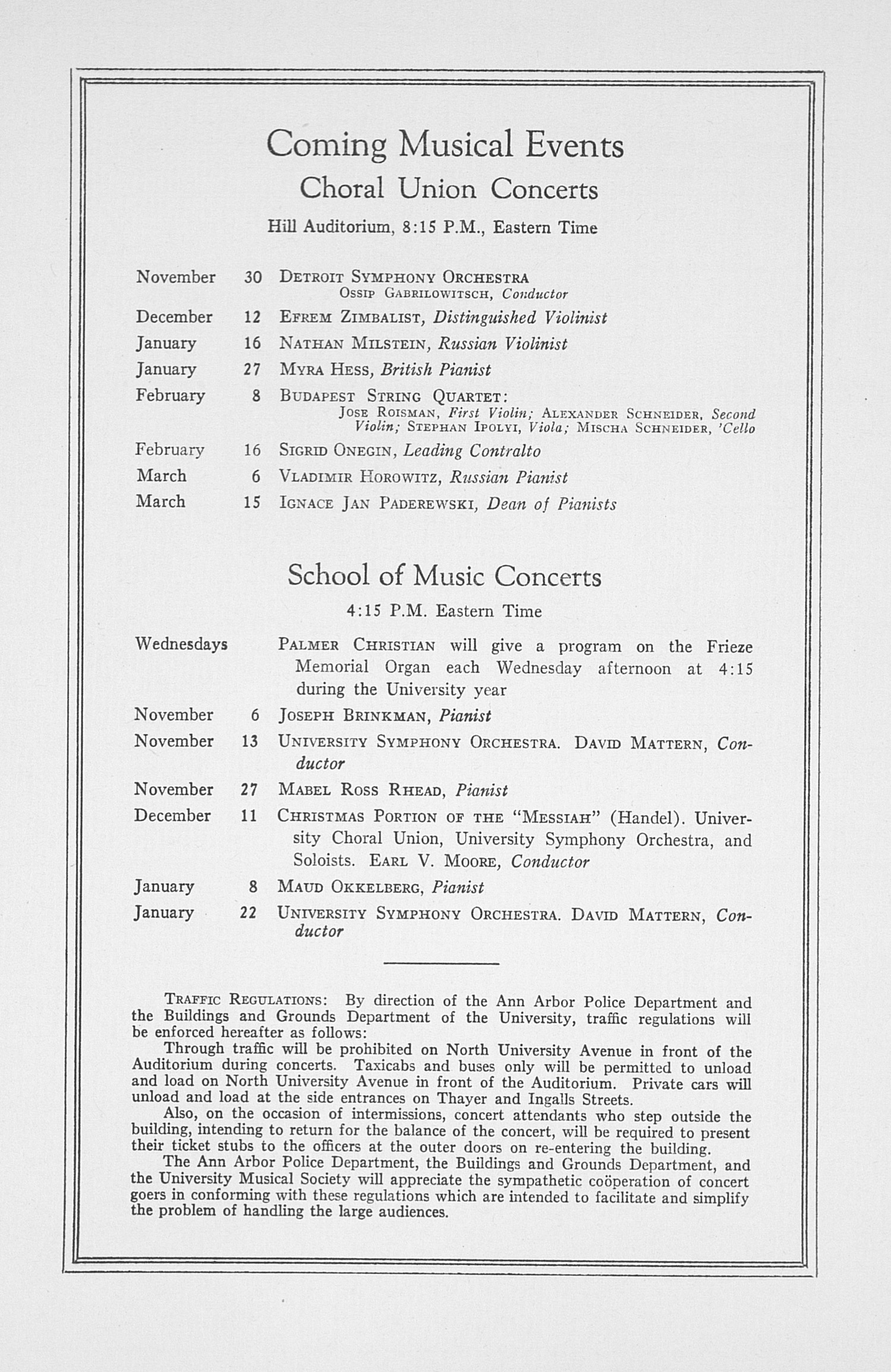 UMS Concert Program, November 2, 1932: Fifty-fourth Annual Choral Union Concert Series -- Lawrence Tibbett image