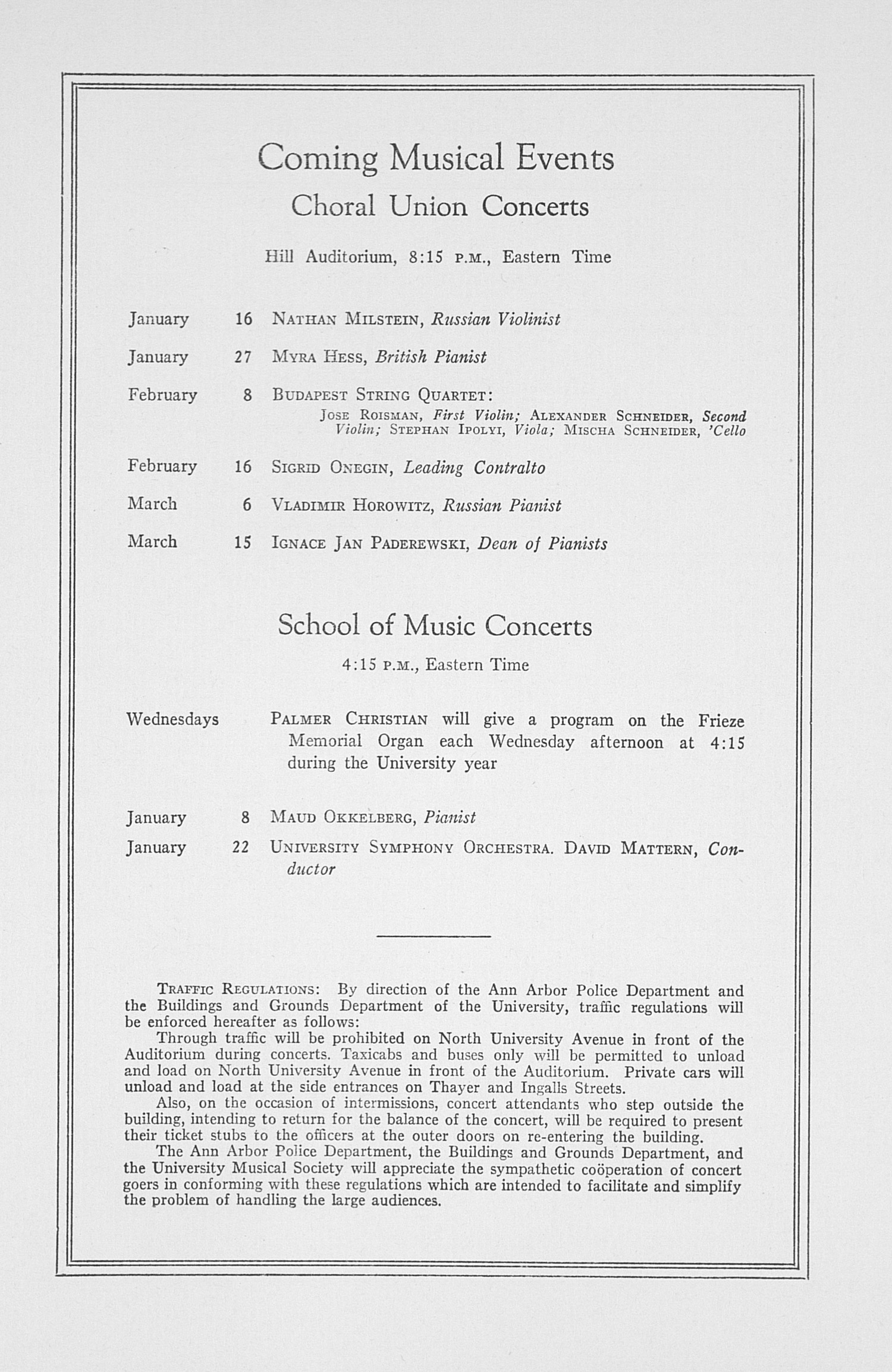 UMS Concert Program, December 12, 1932: Fifty-fourth Annual Choral Union Concert Series -- Efrem Zimbalist image