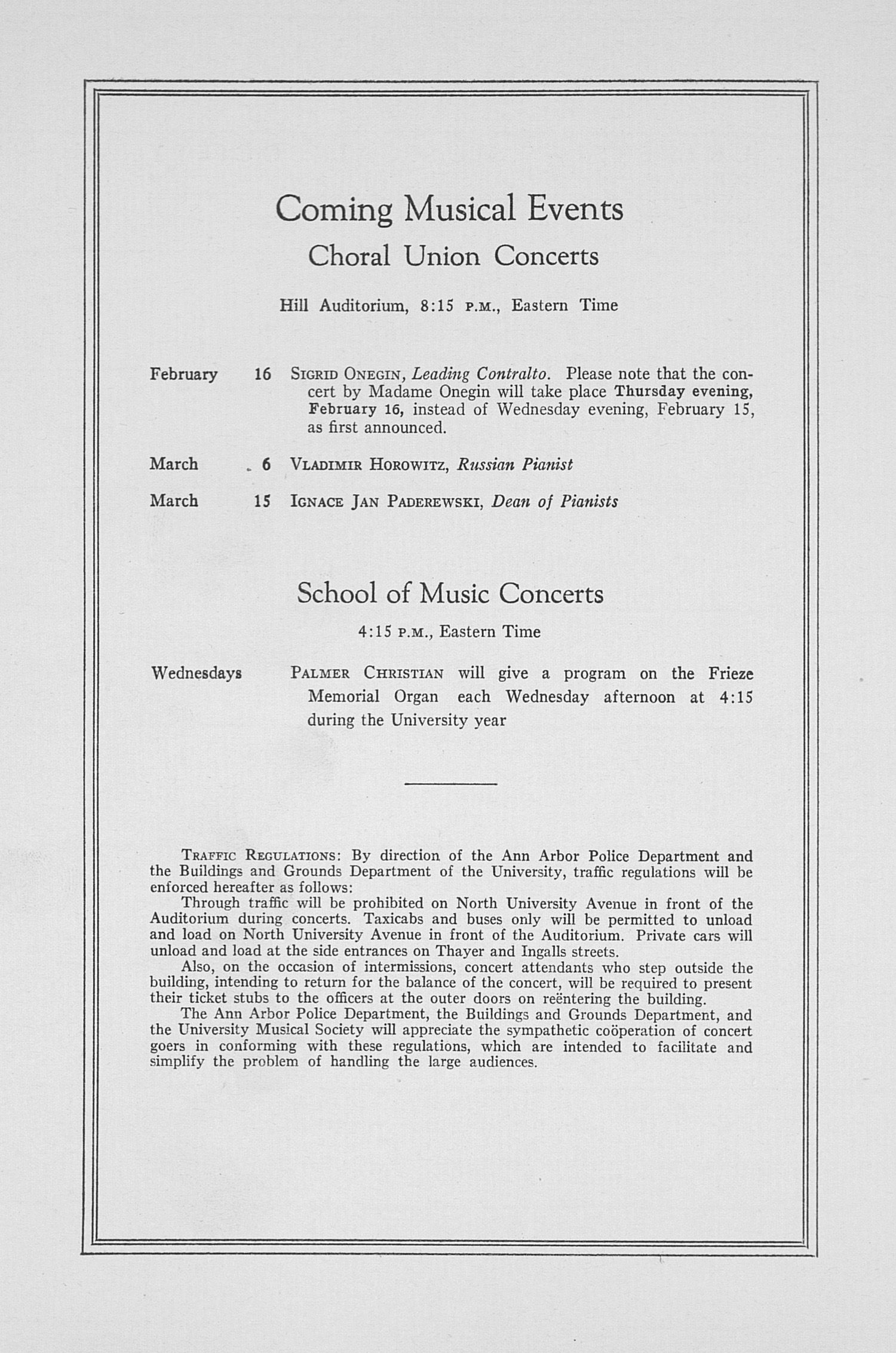UMS Concert Program, February 8, 1933: Fifty-fourth Annual Choral Union Concert Series -- Budapest String Quartet image