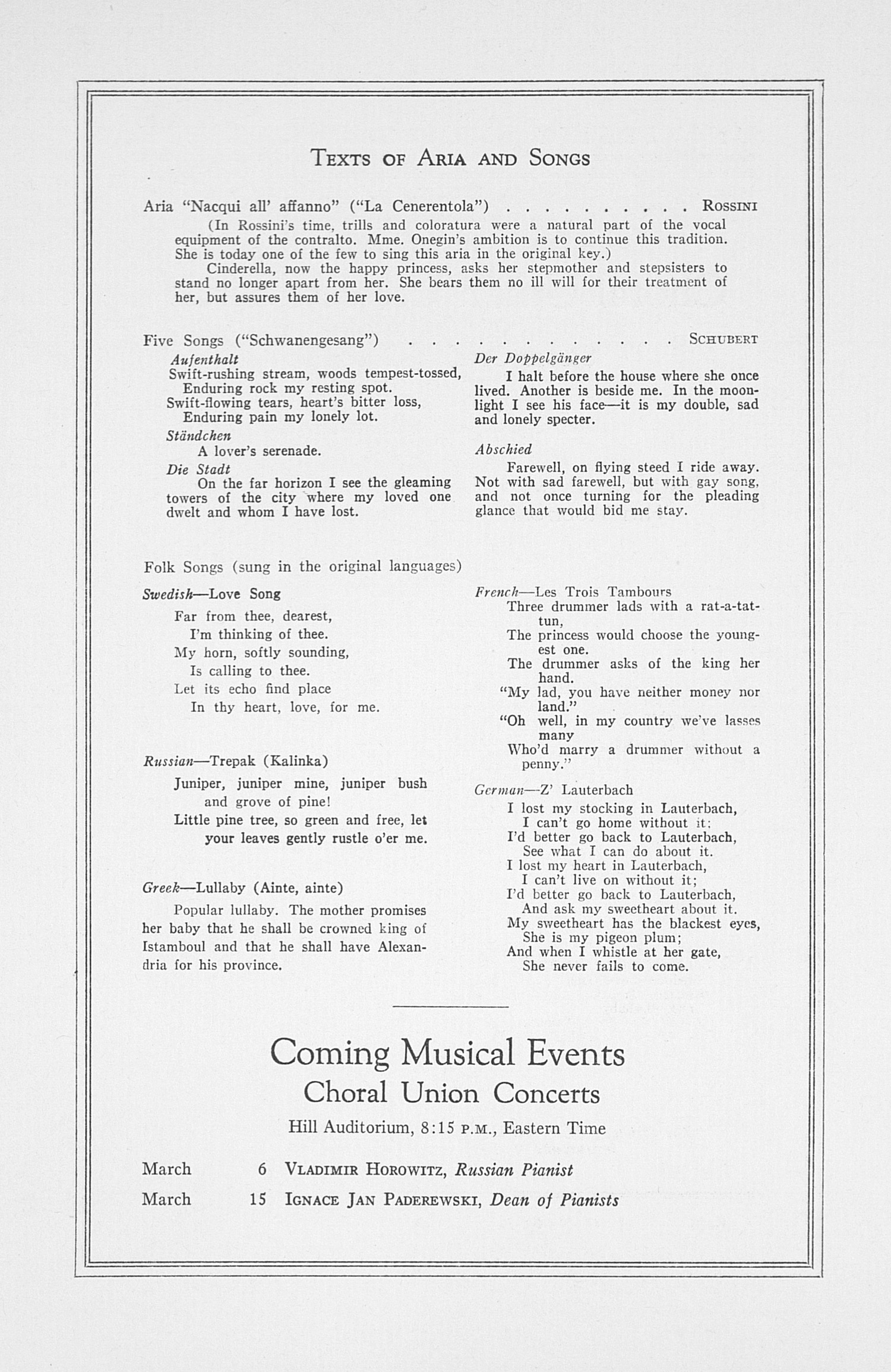 UMS Concert Program, February 16, 1933: Fifty-fourth Annual Choral Union Concert Series -- Sigrid Onegin image