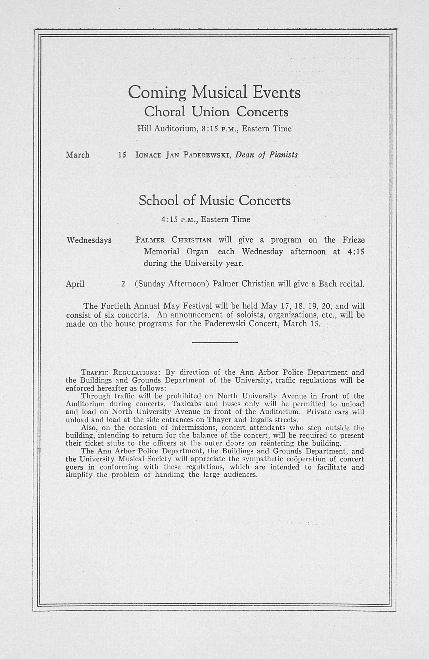 UMS Concert Program, March 6, 1933: Fifty-fourth Annual Choral Union Concert Series -- Vladimir Horowitz image