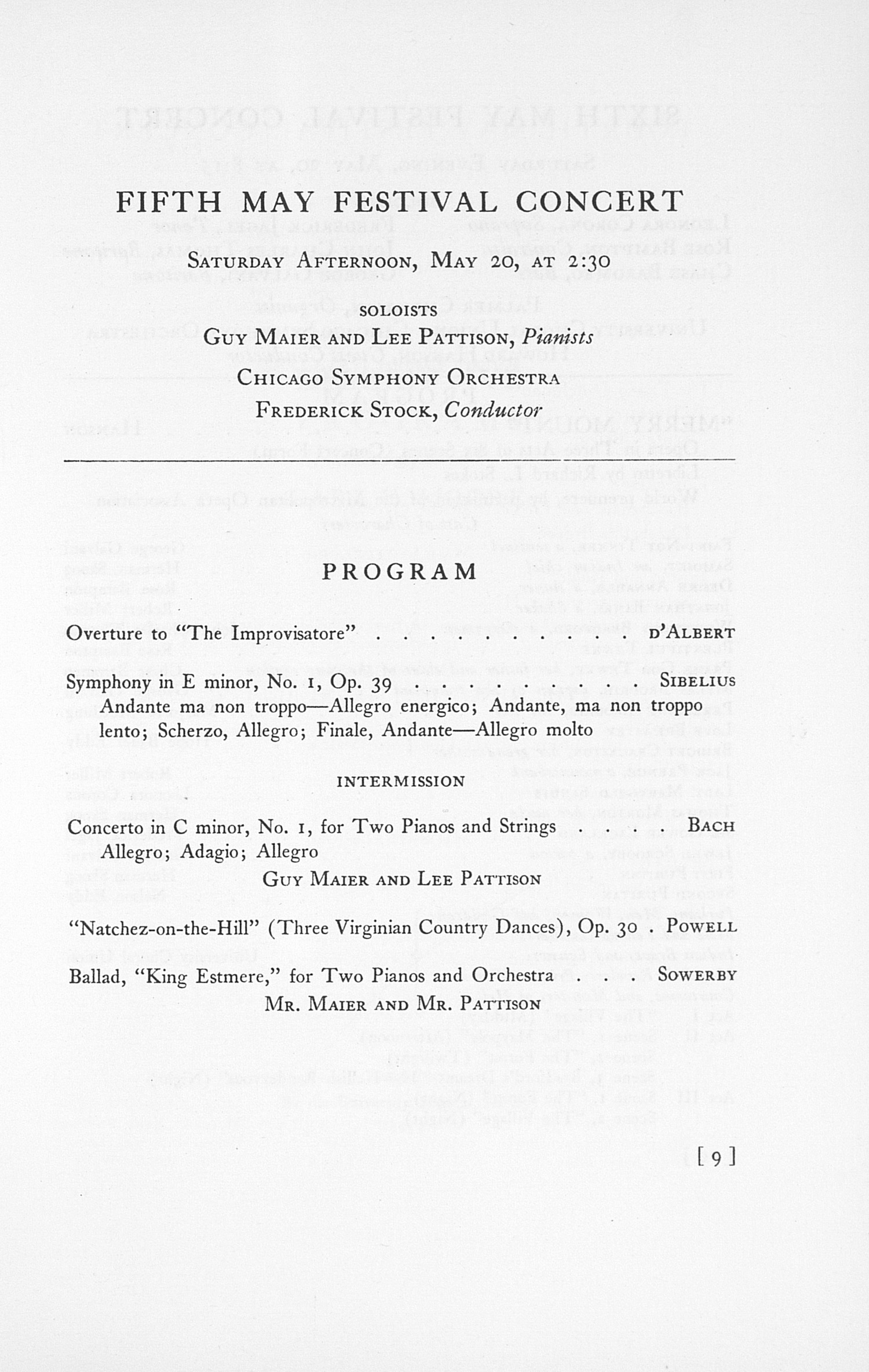 UMS Concert Program, May 17, 18, 19, And 20, 1933: The Fortieth Annual May Festival --  image