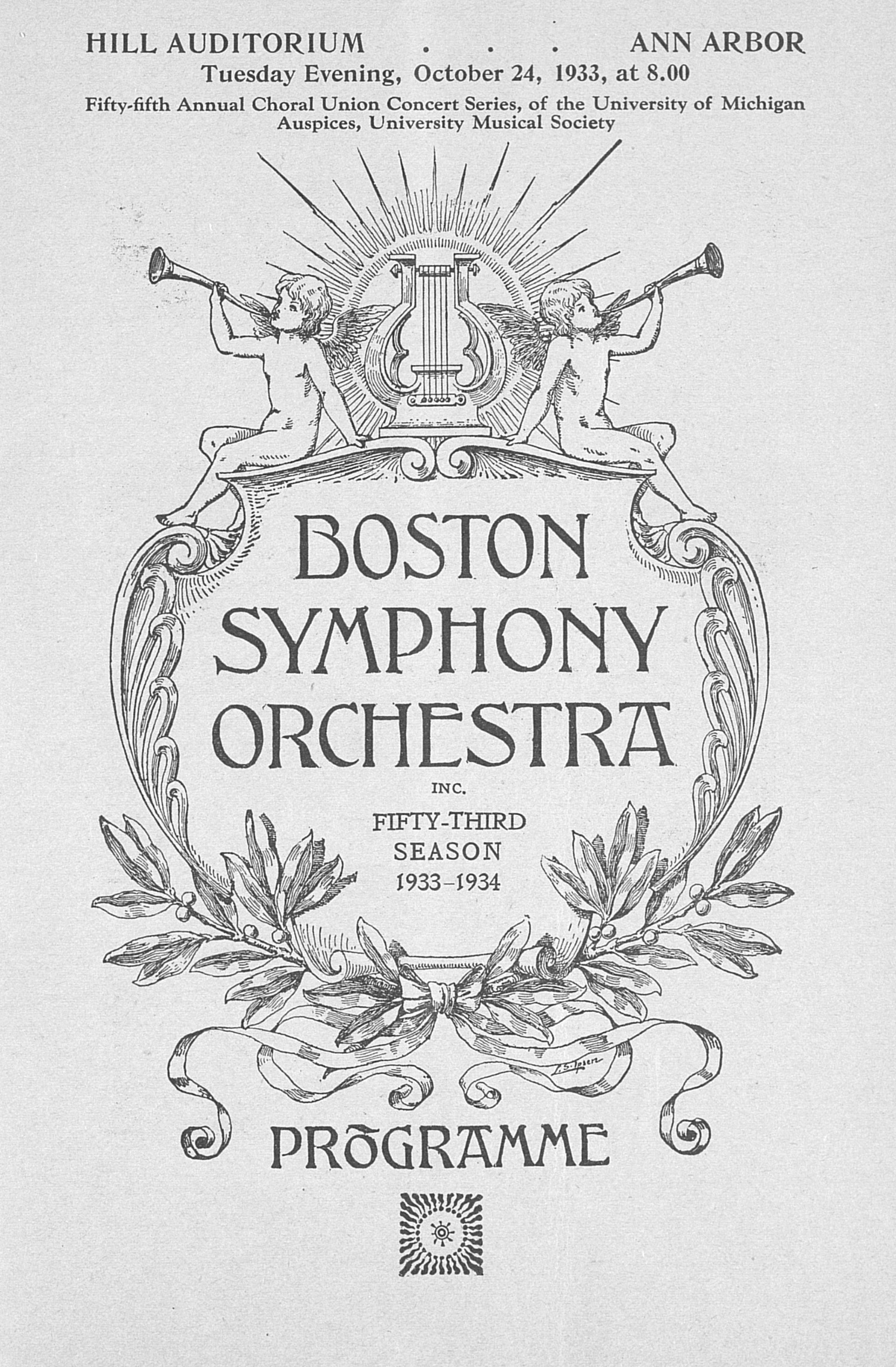 UMS Concert Program, October 24, 1933: Fifty-fifth Annual Choral Union Concert Series... image
