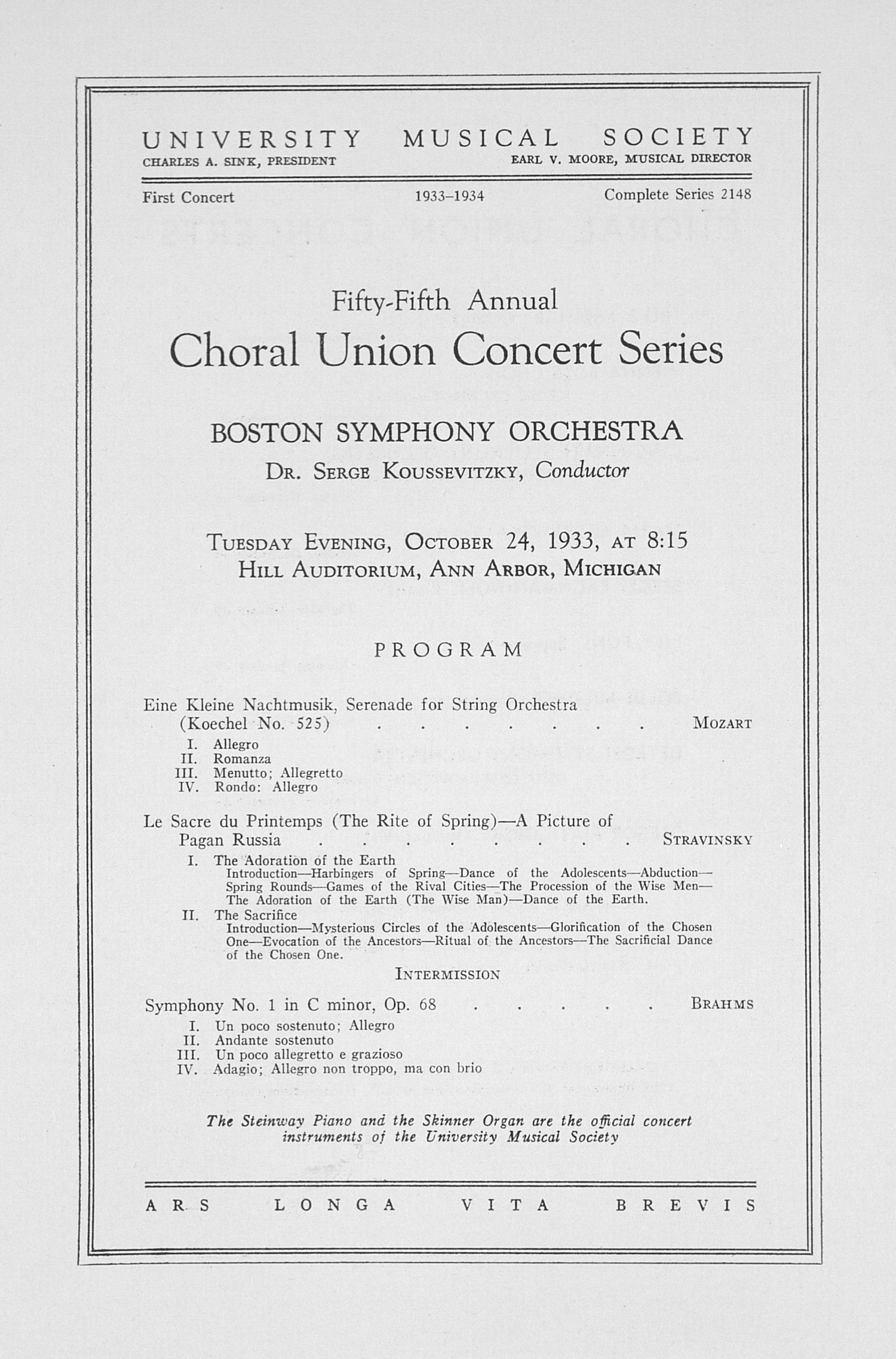 UMS Concert Program, October 24, 1933: Fifty-fifth Annual Choral Union Concert Series -- Boston Symphony Orchestra image