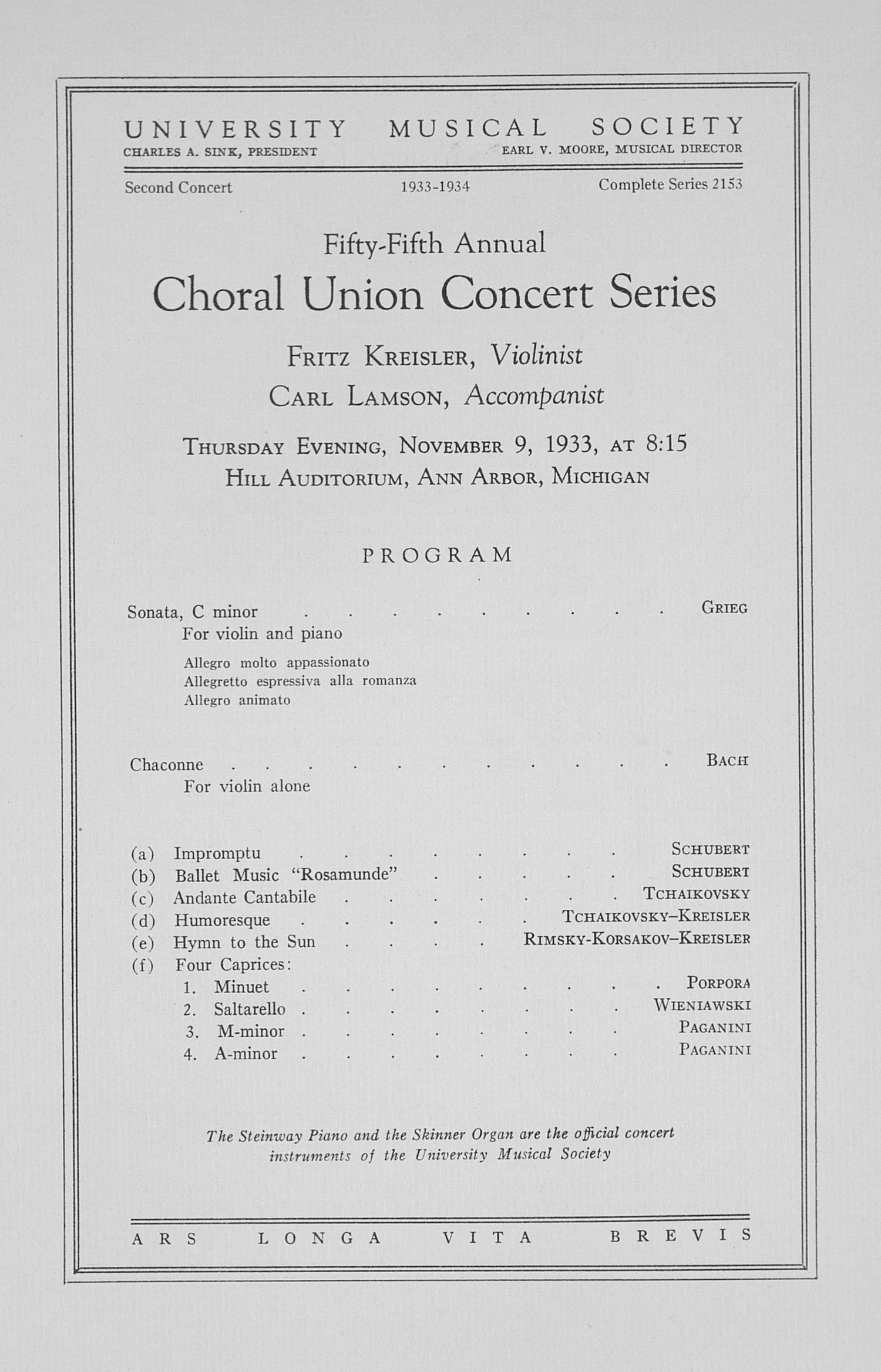 UMS Concert Program, November 9, 1933: Fifty-fifth Annual Choral Union Concert Series -- Fritz Kreisler image
