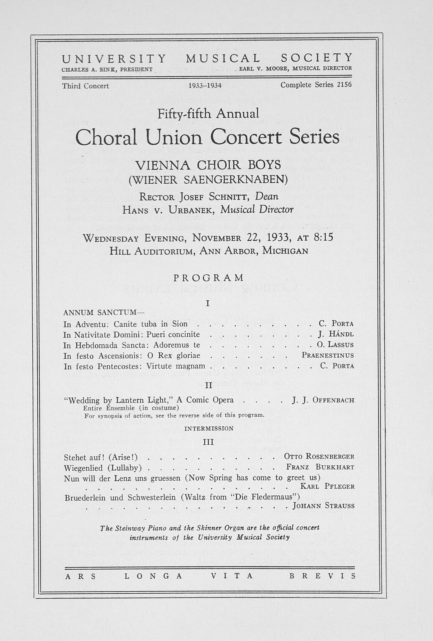 UMS Concert Program, November 22, 1933: Fifty-fifth Annual Choral Union Concert Series -- Vienna Choir Boys image