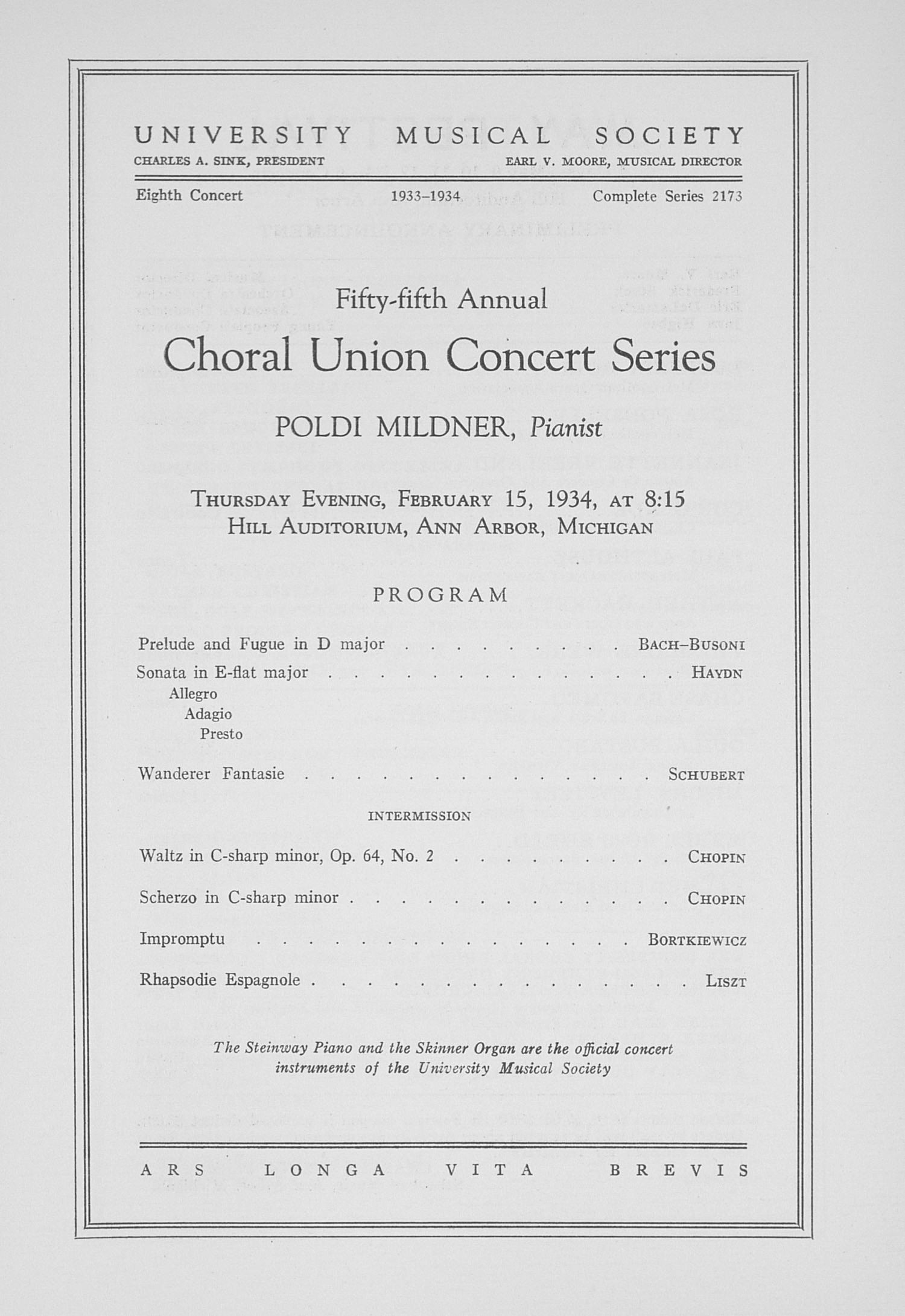 UMS Concert Program, February 15, 1934: Choral Union Concert Series -- Poldi Mildner image
