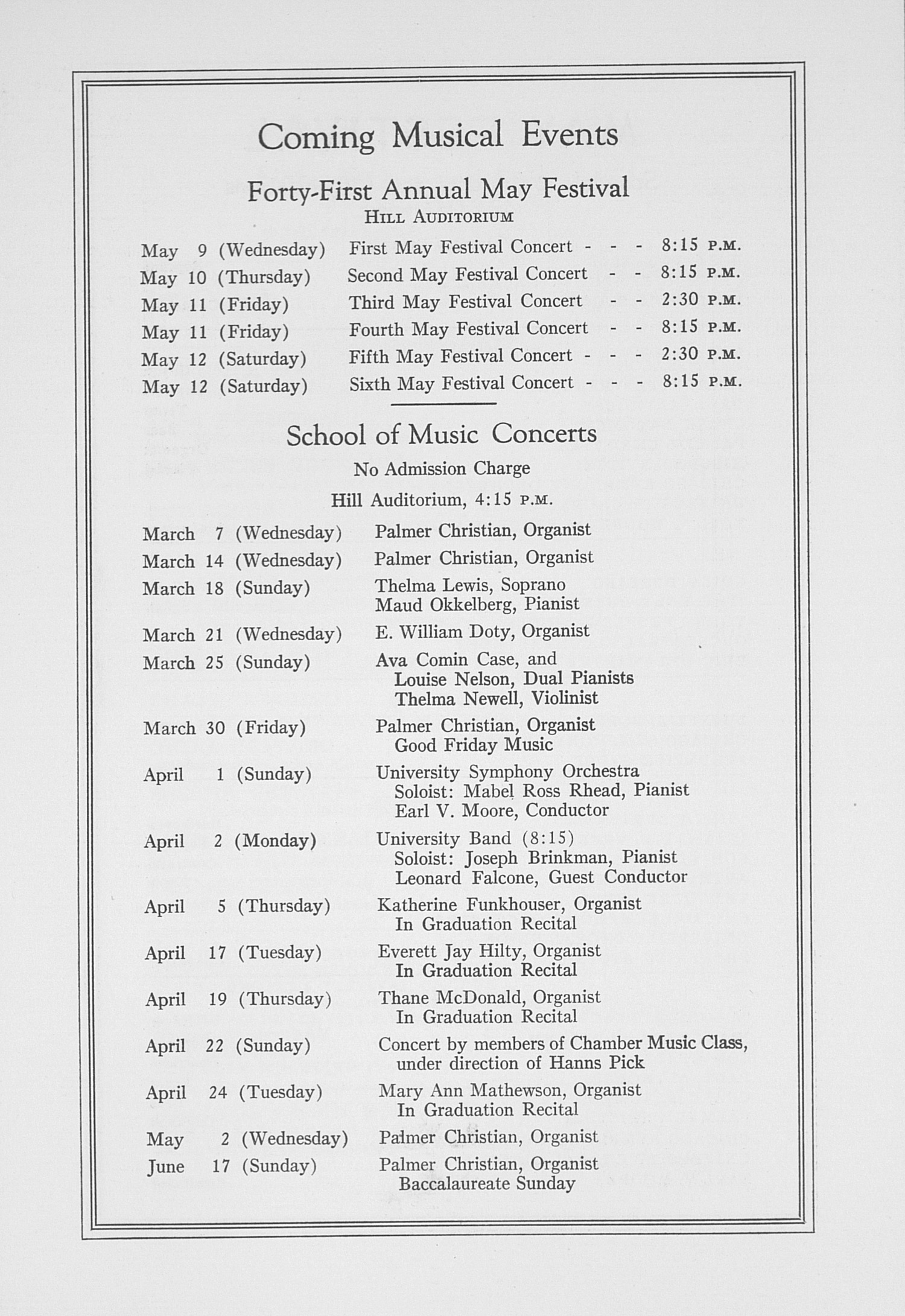 UMS Concert Program, March 6, 1934: Choral Union Concert Series -- Gregor Piatigorsky image