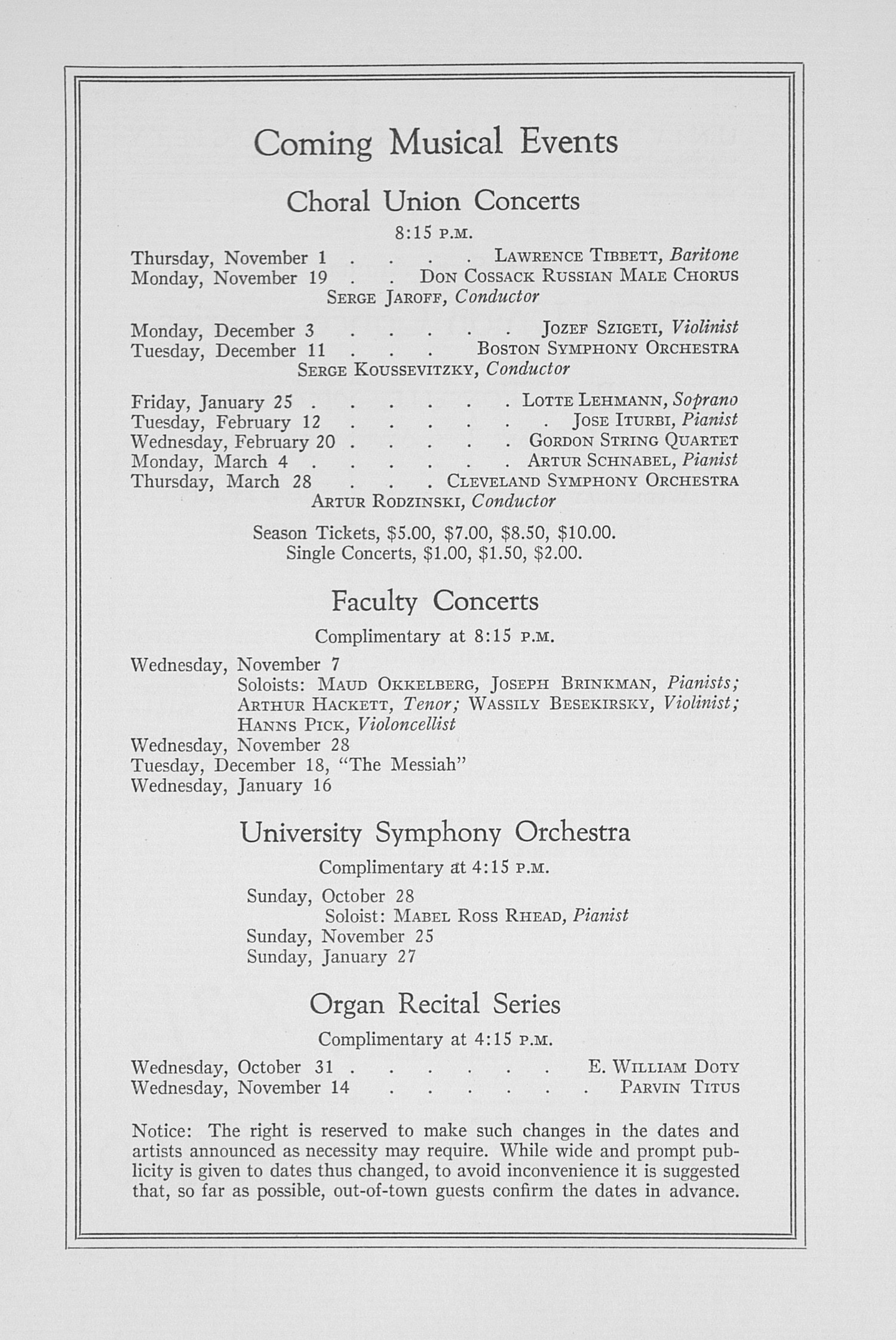 UMS Concert Program, October 24, 1934: Fifty-sixth Annual Choral Union Concert Series -- Rosa Ponselle image