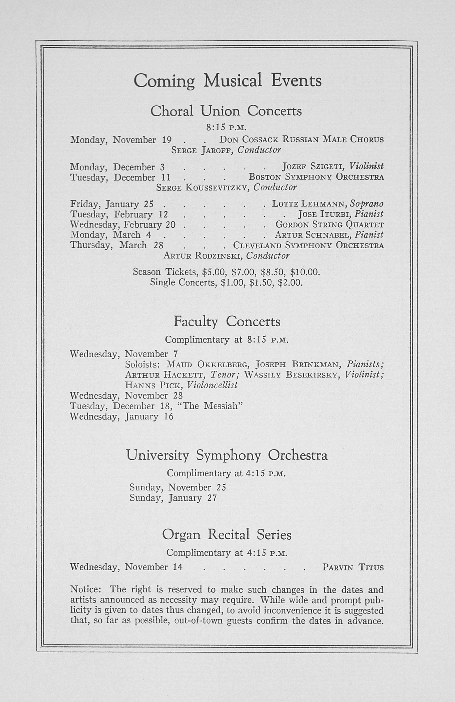 UMS Concert Program, November 1, 1934: Fifty-sixth Annual Choral Union Concert Series -- Lawrence Tibbett image