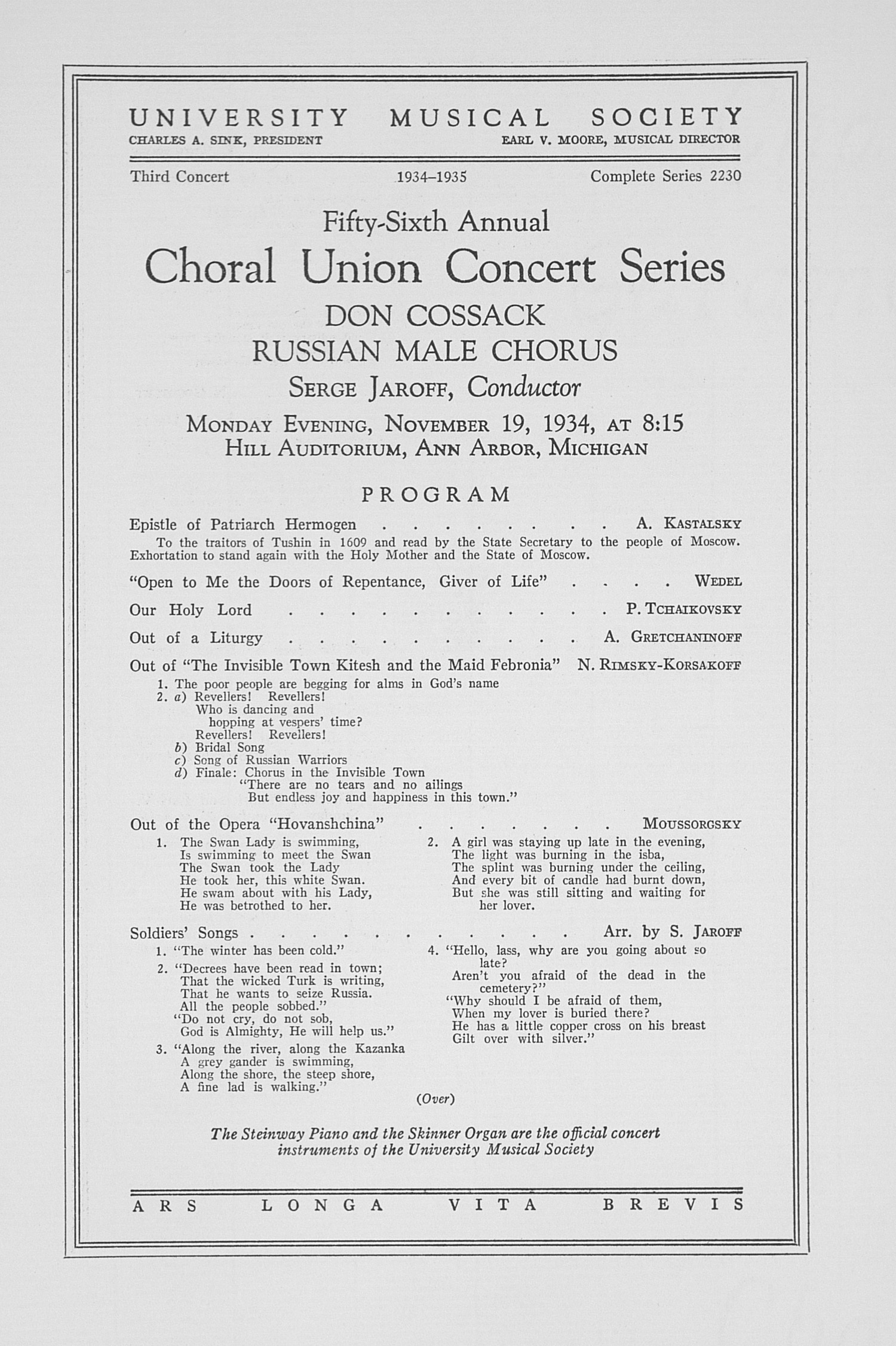 UMS Concert Program, November 19, 1934: Fifty-sixth Annual Choral Union Concert Series -- Don Cossack  image