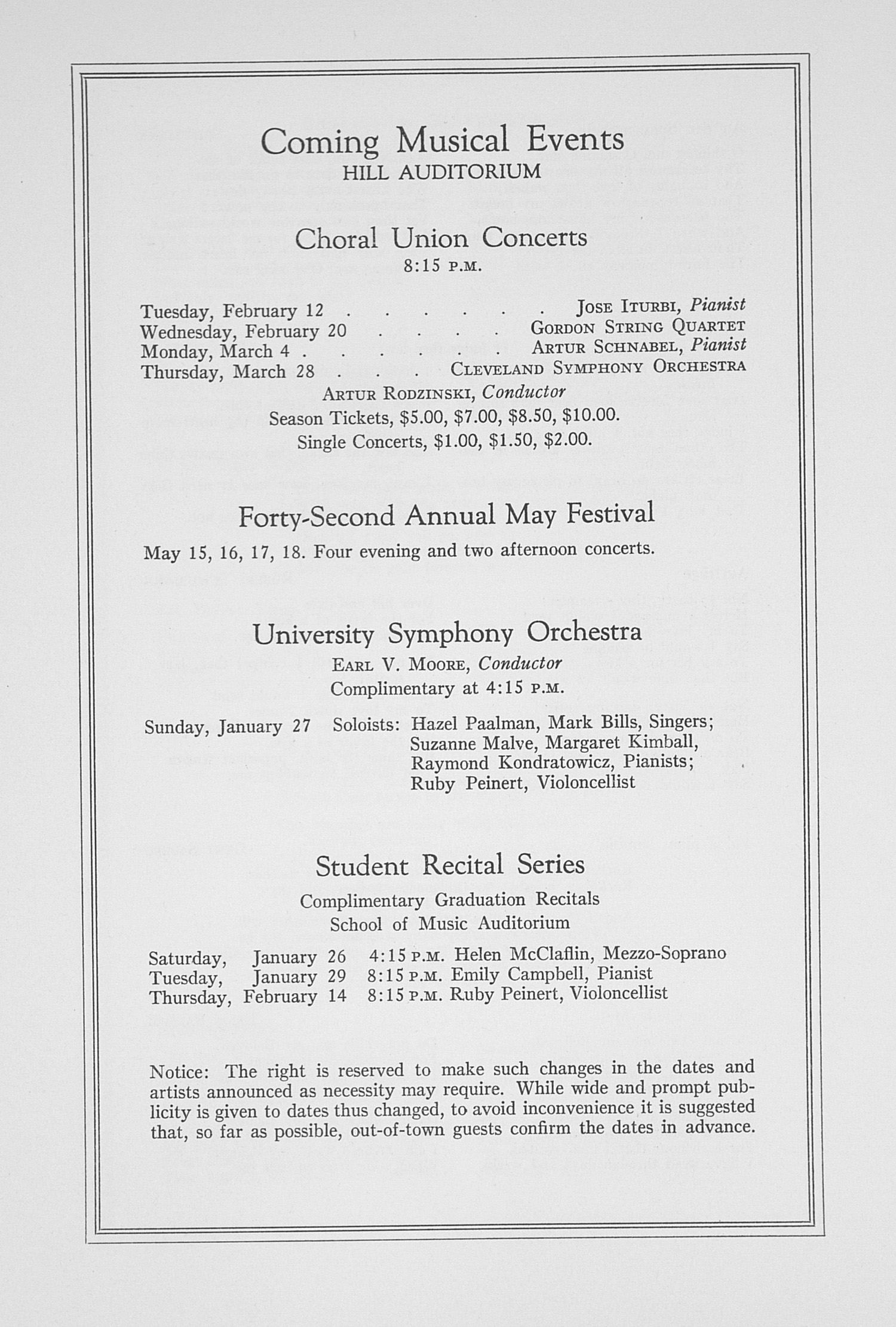 UMS Concert Program, January 25, 1935: Choral Union Concert Series -- Lotte Lehmann image