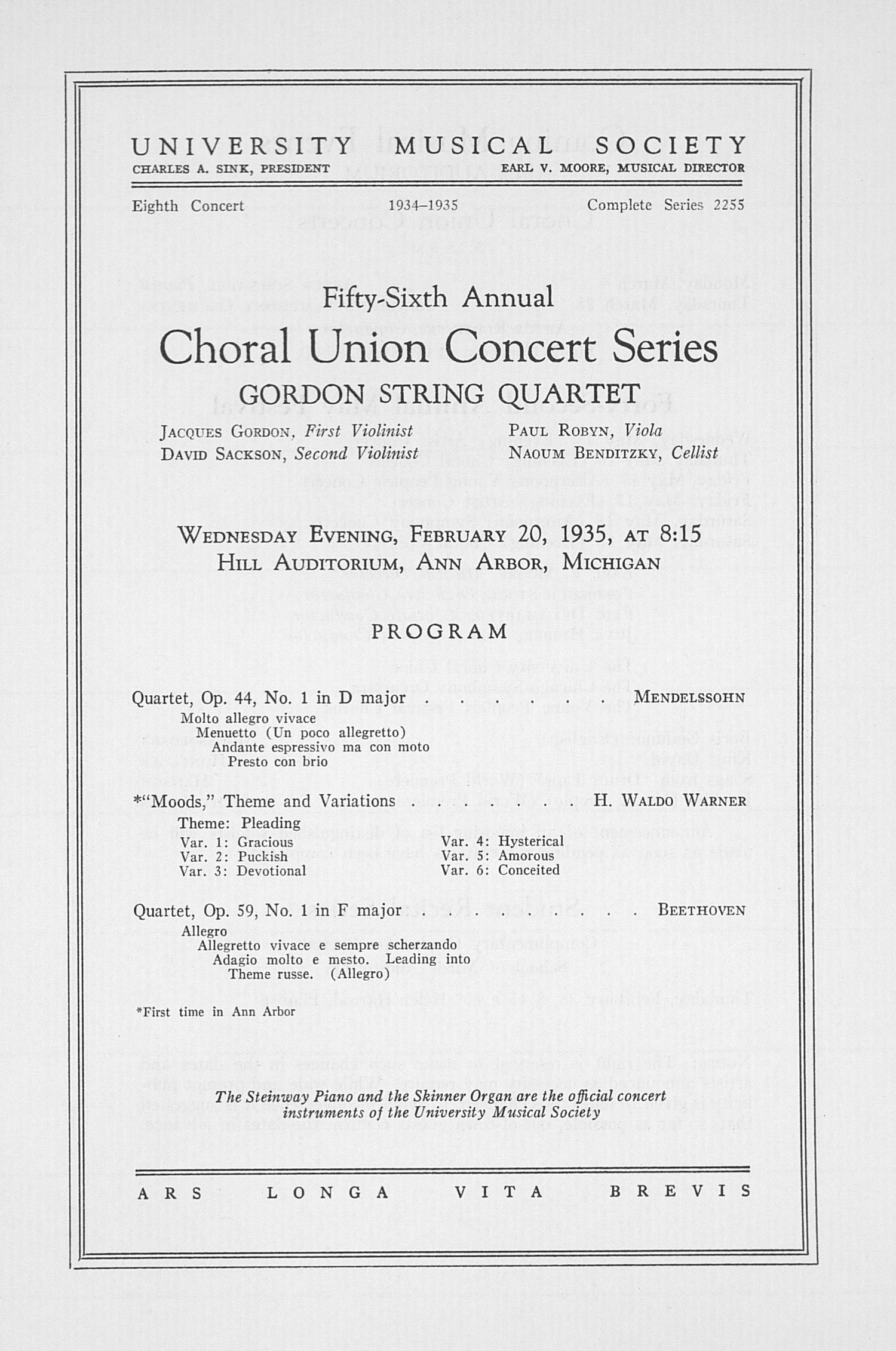 UMS Concert Program, February 20, 1935: Fifty-sixth Annual Choral Union Concert Series -- Gordon String Quartet image