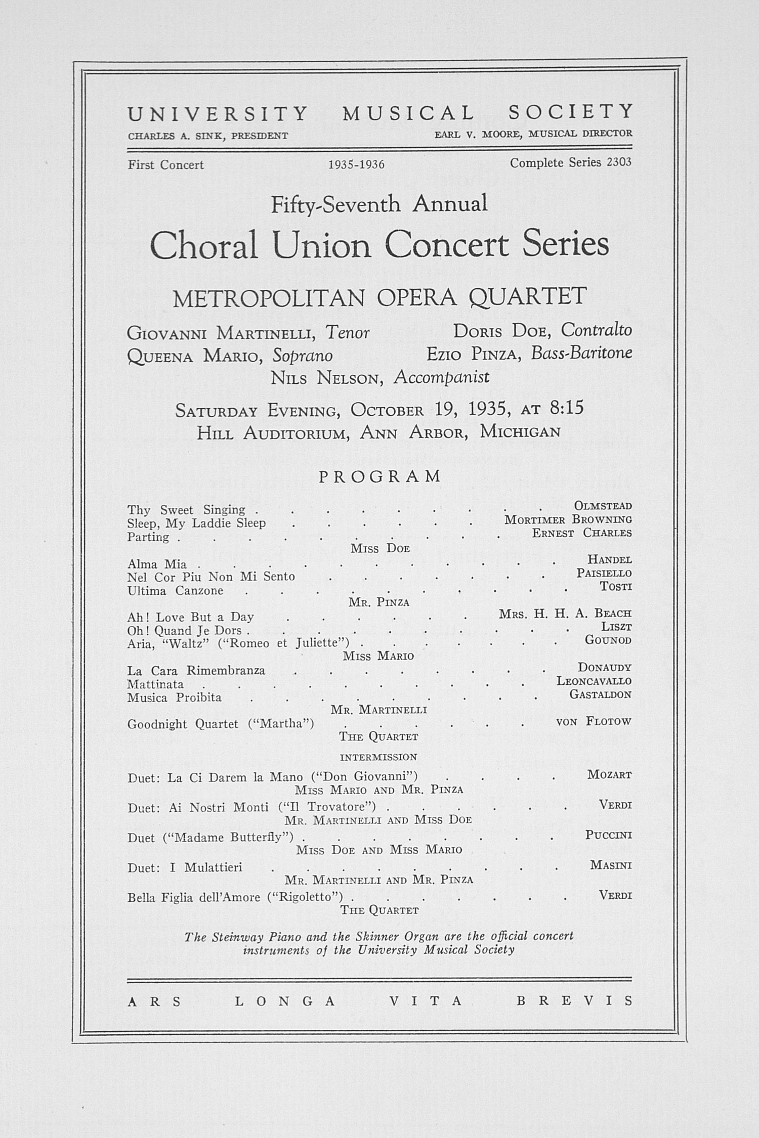 UMS Concert Program, October 19, 1935: Fifty-seventh Annual Choral Union Concert Series -- Metropolitan Opera Quartet image