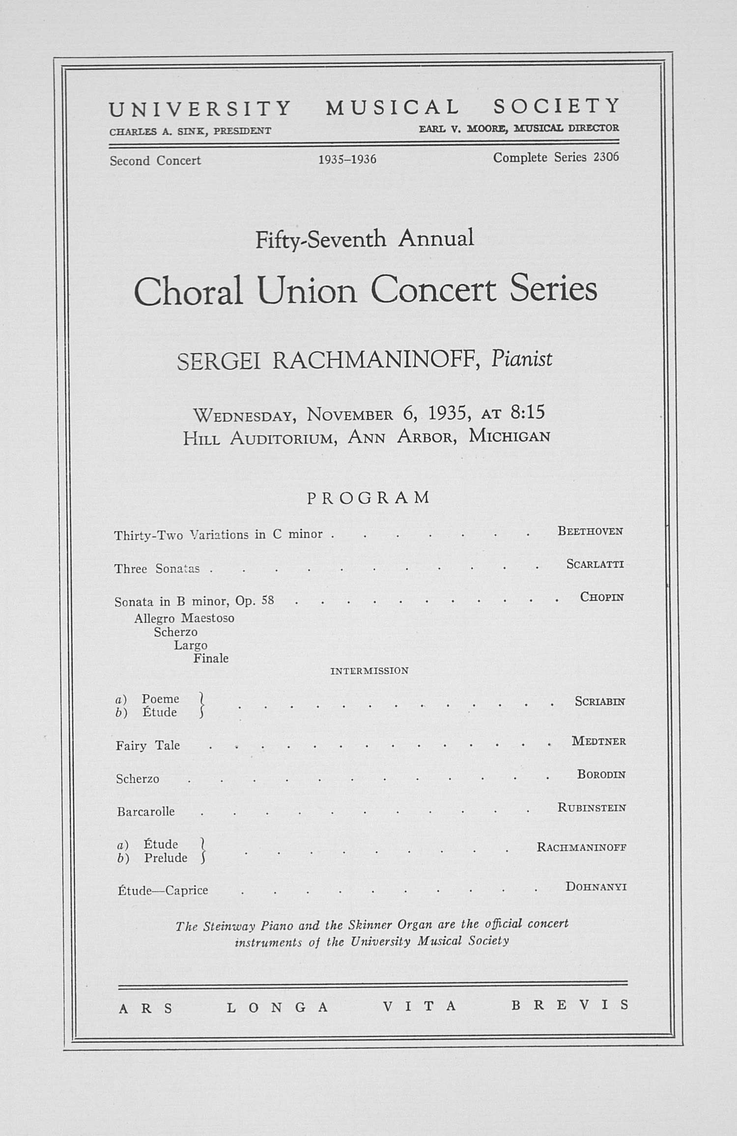 UMS Concert Program, November 6, 1935: Fifty-seventh Annual Choral Union Concert Series -- Sergei Rachmaninoff image