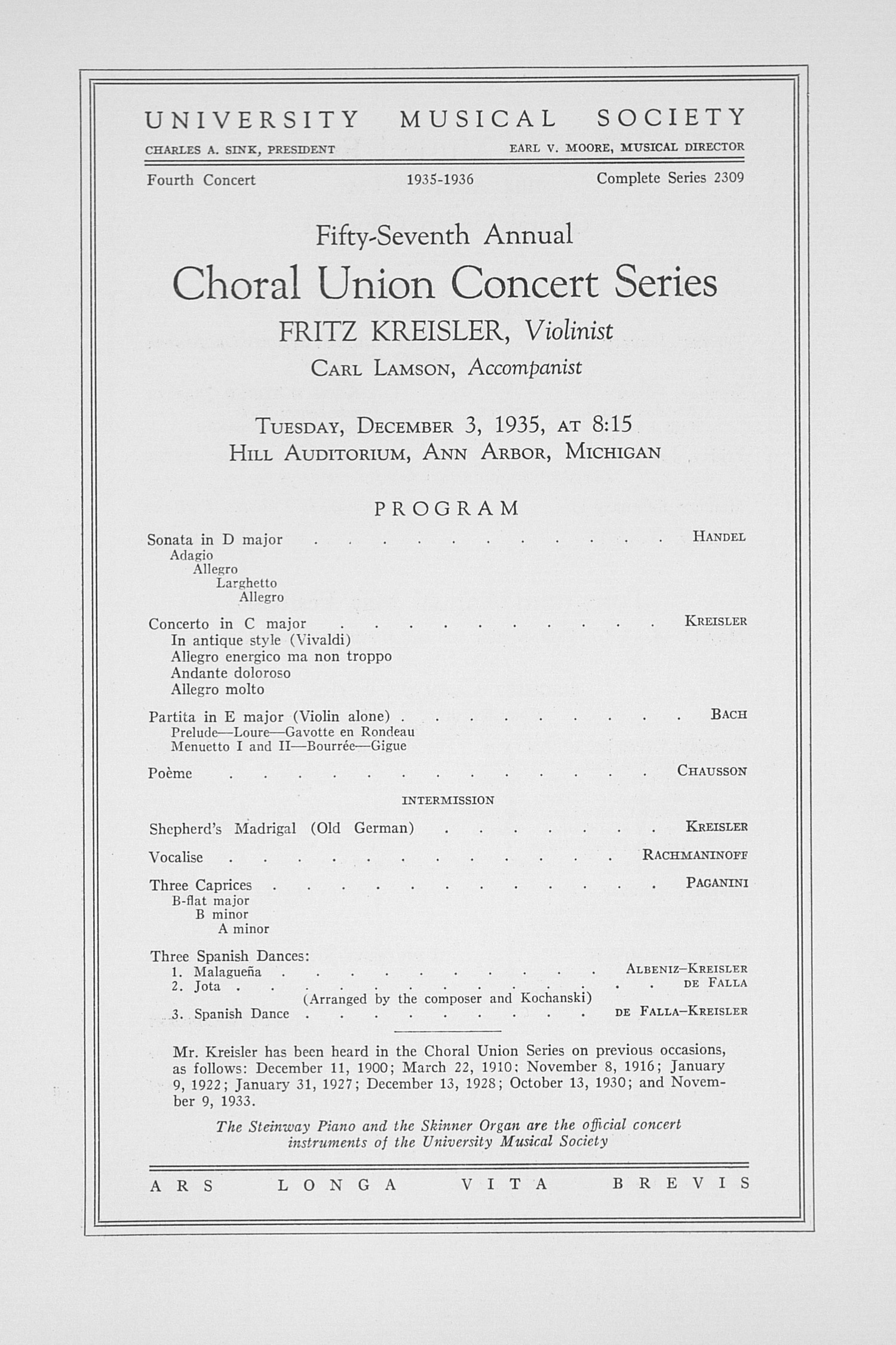 UMS Concert Program, December 3, 1935: Fifty-seventh Annual Choral Union Concert Series -- Fritz Kreisler image