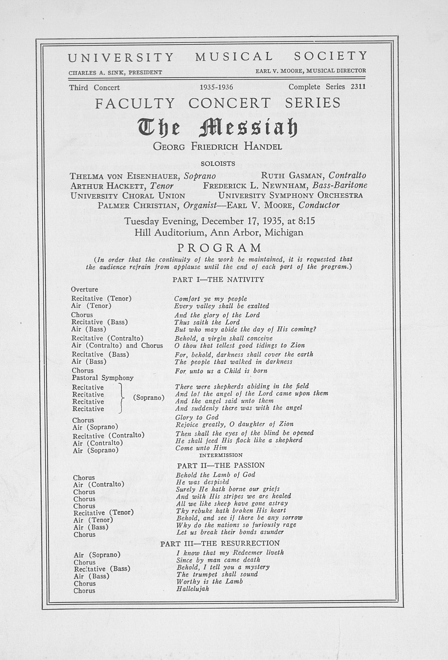 UMS Concert Program, December 17, 1935: The Messiah -- Georg Friedrich Handel image