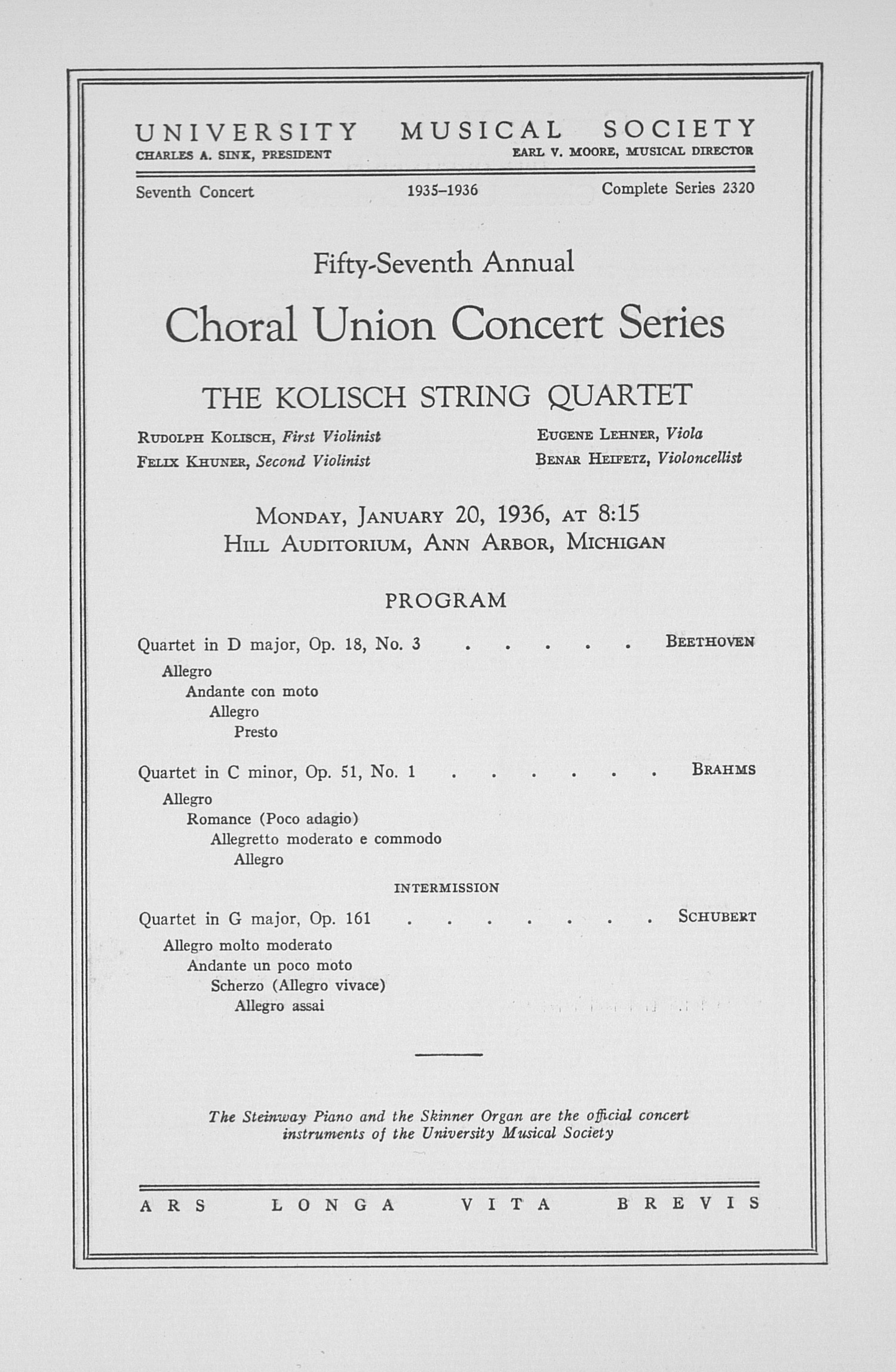 UMS Concert Program, January 20, 1936: Fifty-seventh Annual Choral Union Concert Series -- The Kolisch String Quartet image
