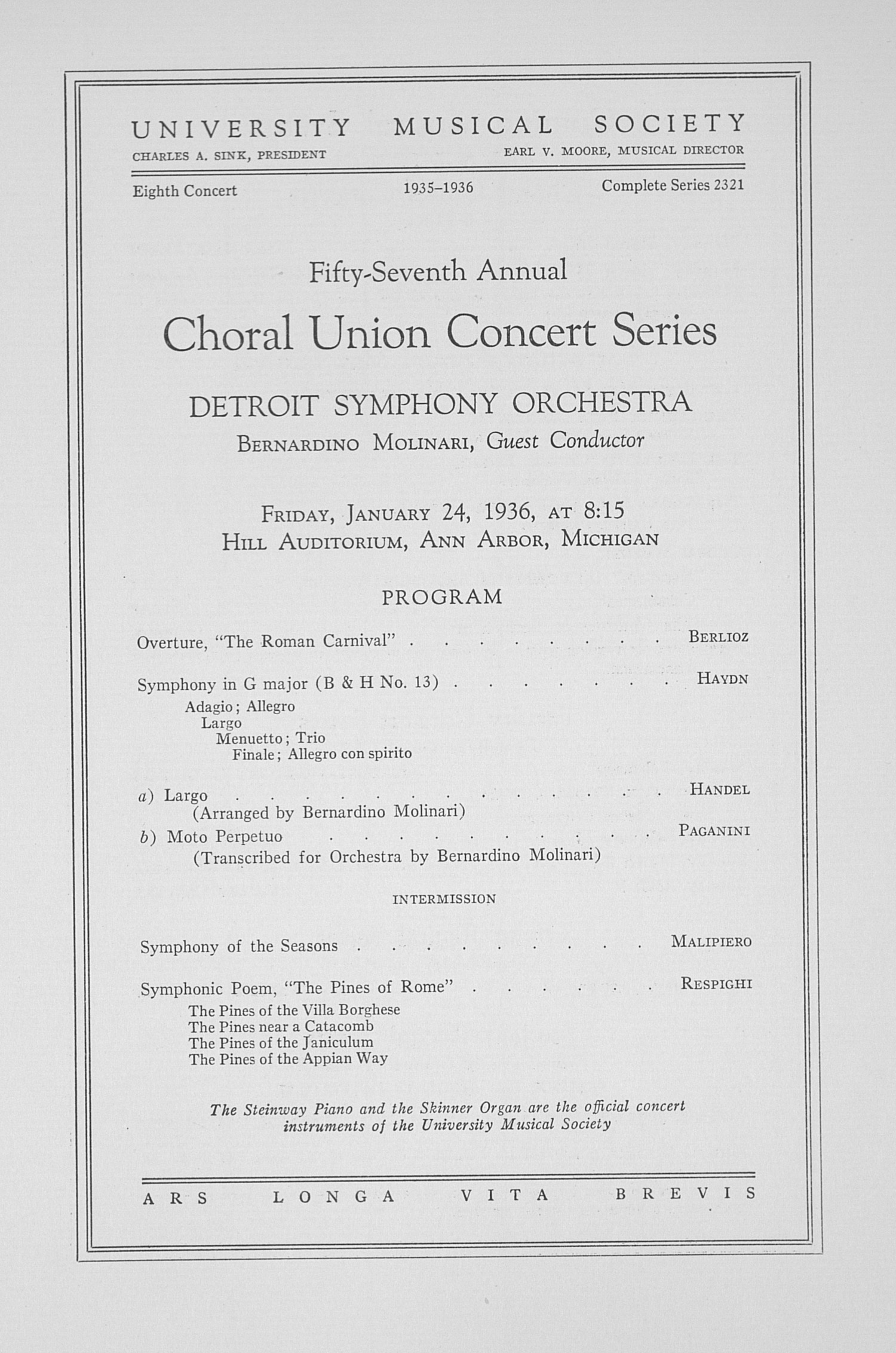 UMS Concert Program, January 24, 1936: Fifty-seventh Annual Choral Union Concert Series -- Detroit Symphony Orchestra image