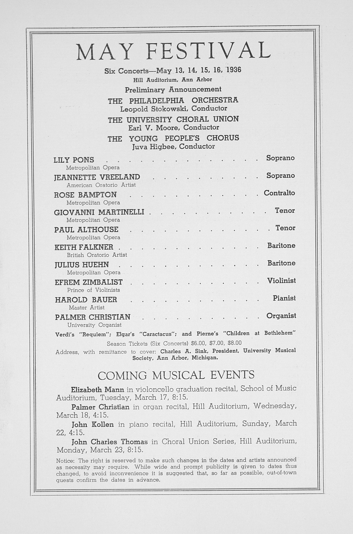 UMS Concert Program, March 16, 1936: Fifty-seventh Annual Choral Union Concert Series -- Albert Spalding image