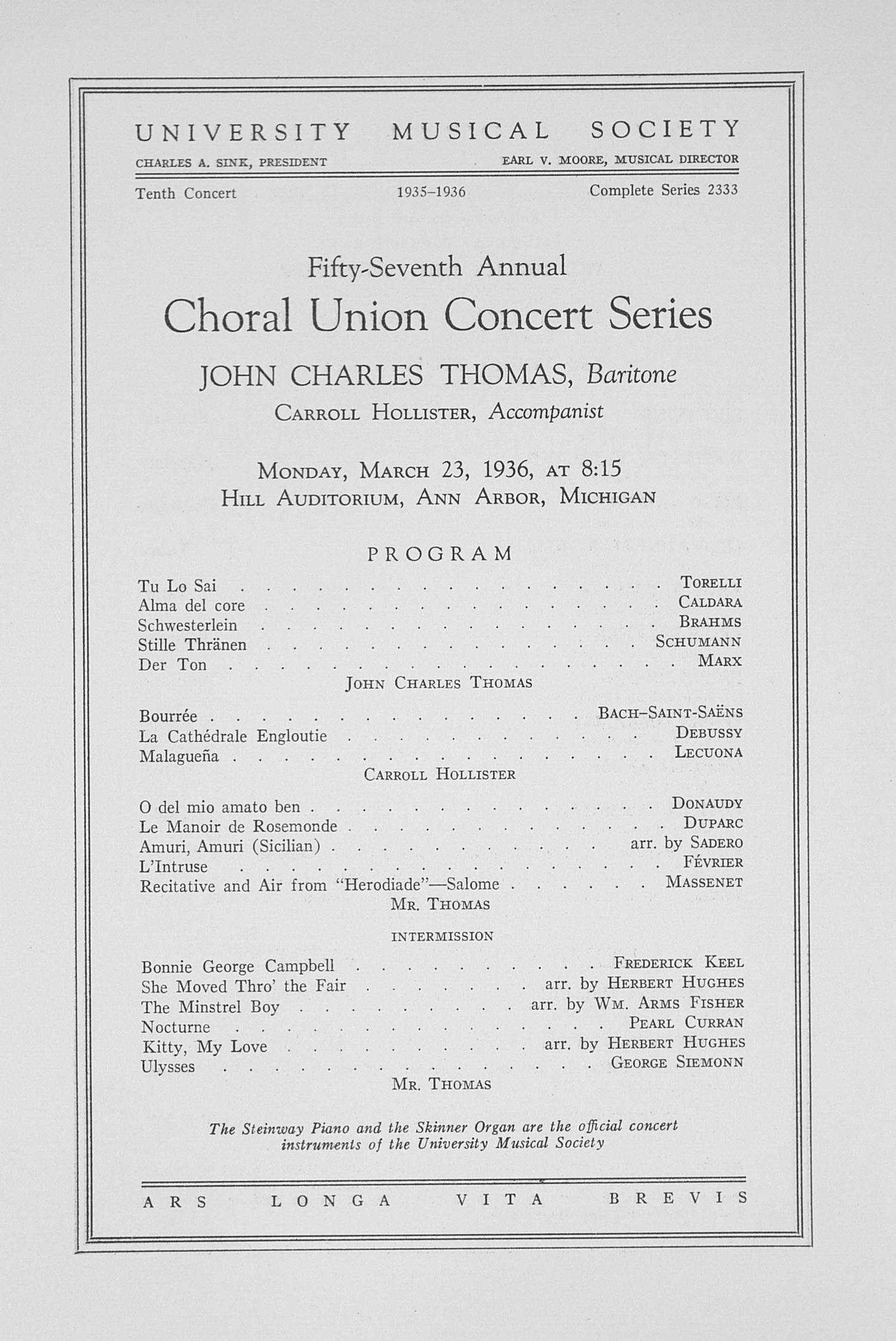 UMS Concert Program, March 23, 1936: Fifty-seventh Annual Choral Union Concert Series -- John Charles Thomas image