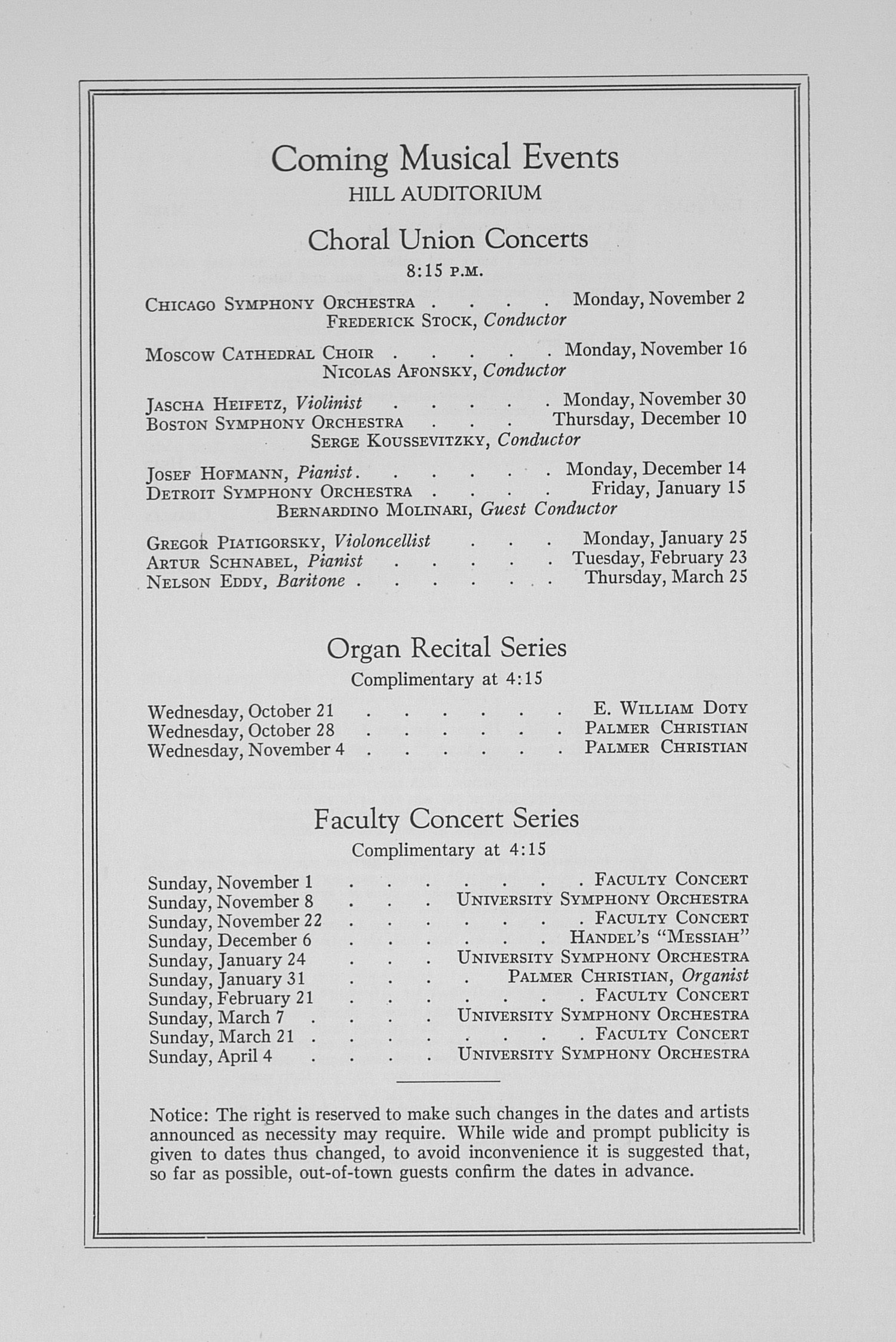 UMS Concert Program, October 19, 1936: Fifty-eighth Annual Choral Union Concert Series -- Kirsten Flagstad image