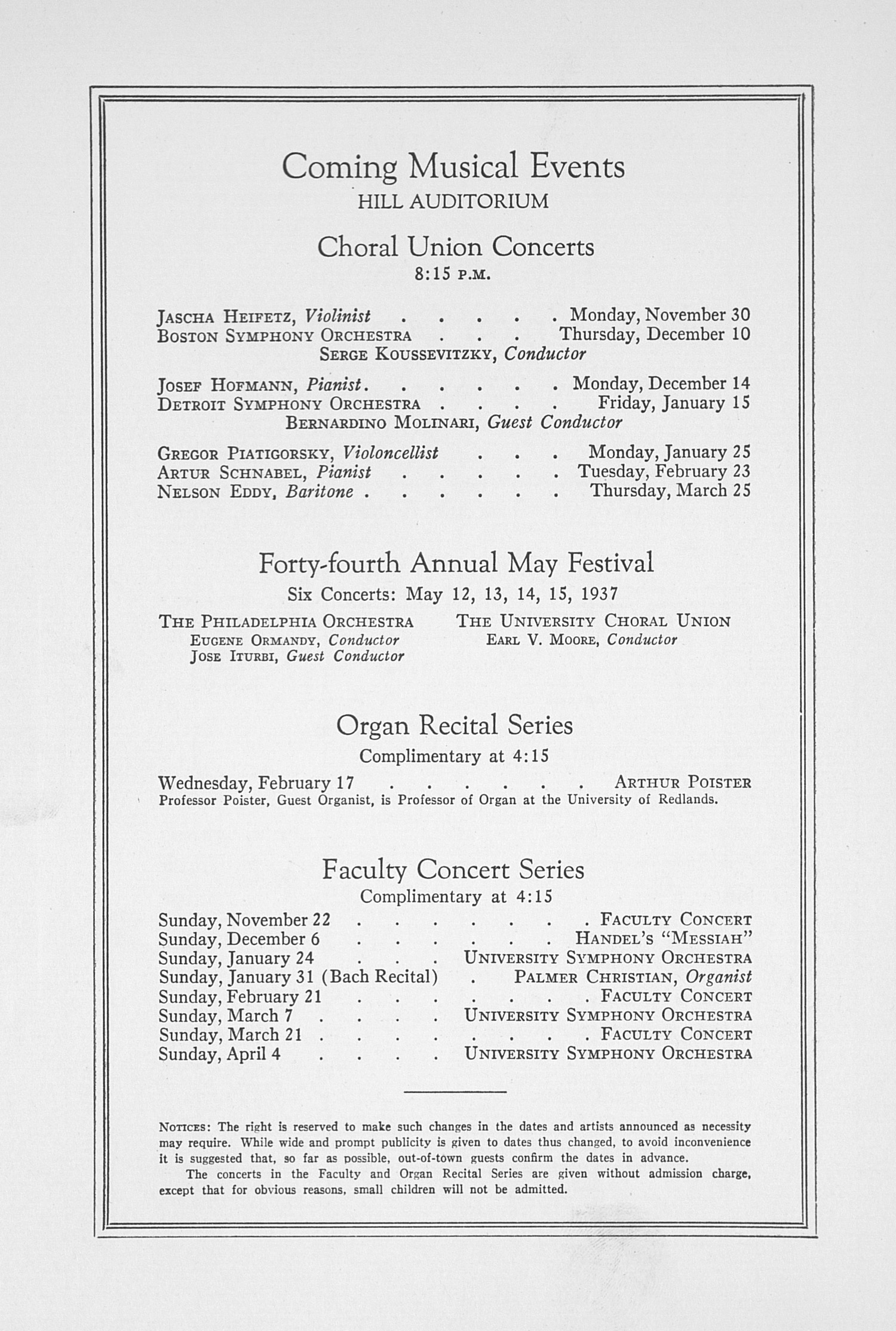 UMS Concert Program, November 16, 1936: Fifty-eighth Annual Choral Union Concert Series -- Moscow Cathedral Choir image