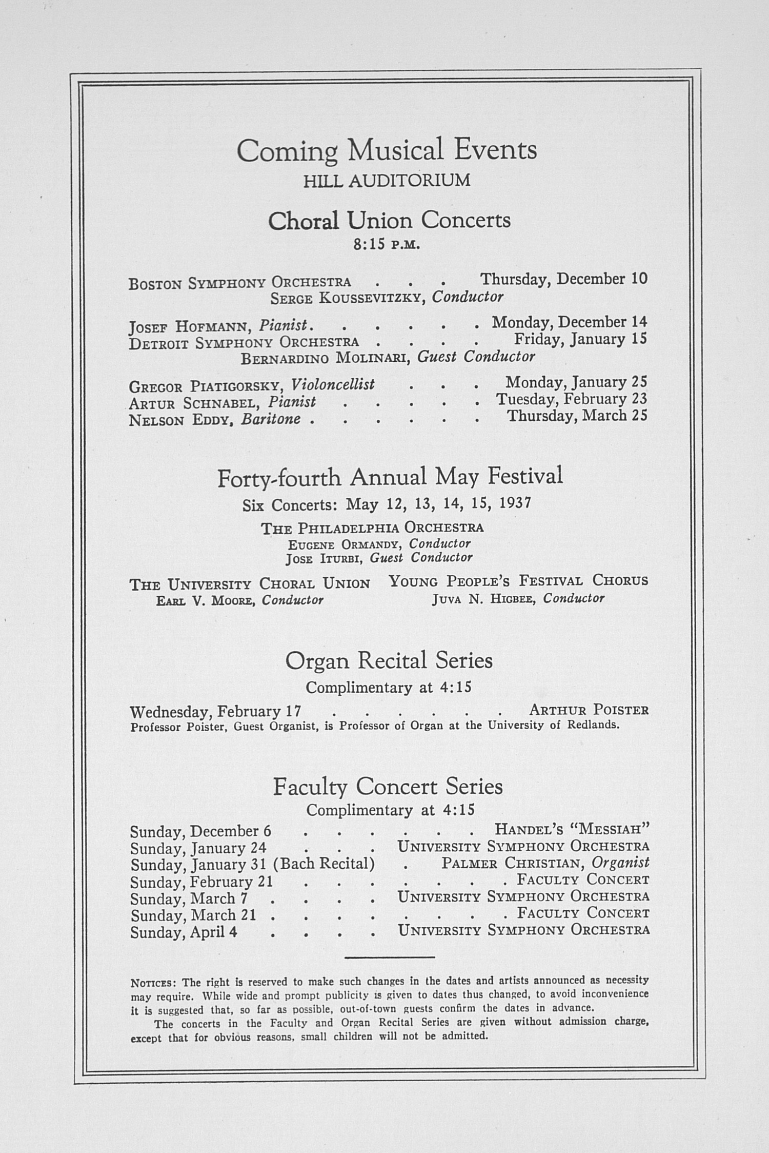 UMS Concert Program, November 30, 1936: Fifty-eighth Annual Choral Union Concert Series -- Heifetz image