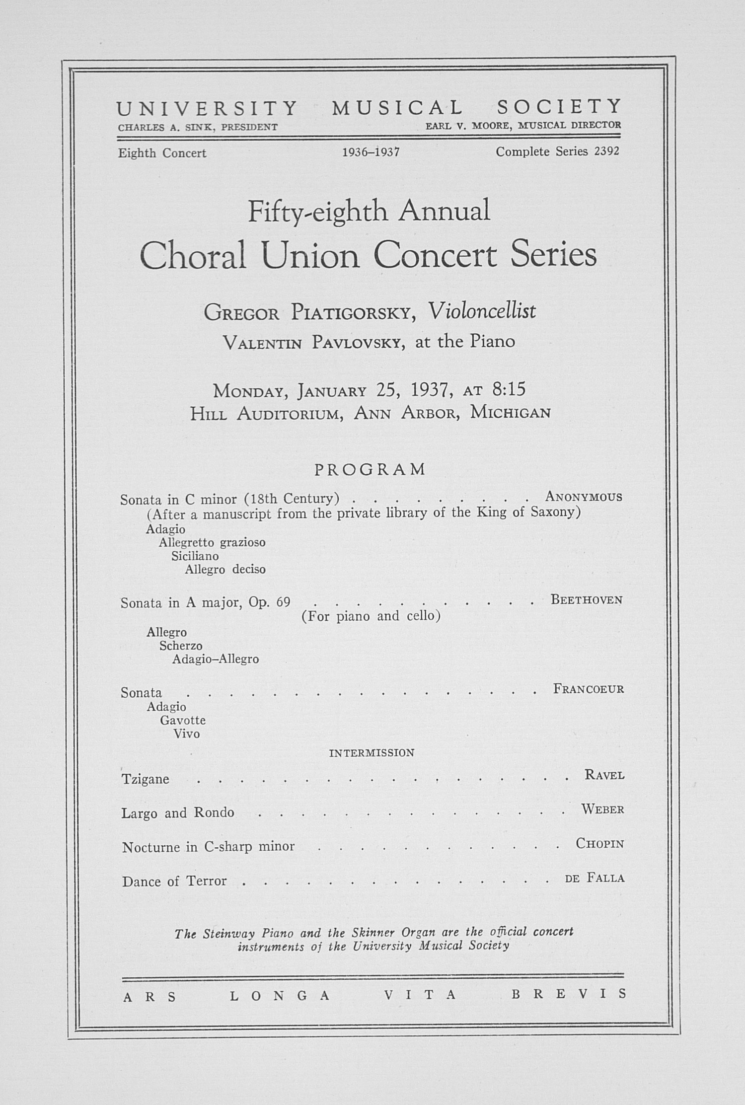 UMS Concert Program, January 25, 1937: Fifty-eighth Annual Choral Union Concert Series -- Gregor Piatigorsky image