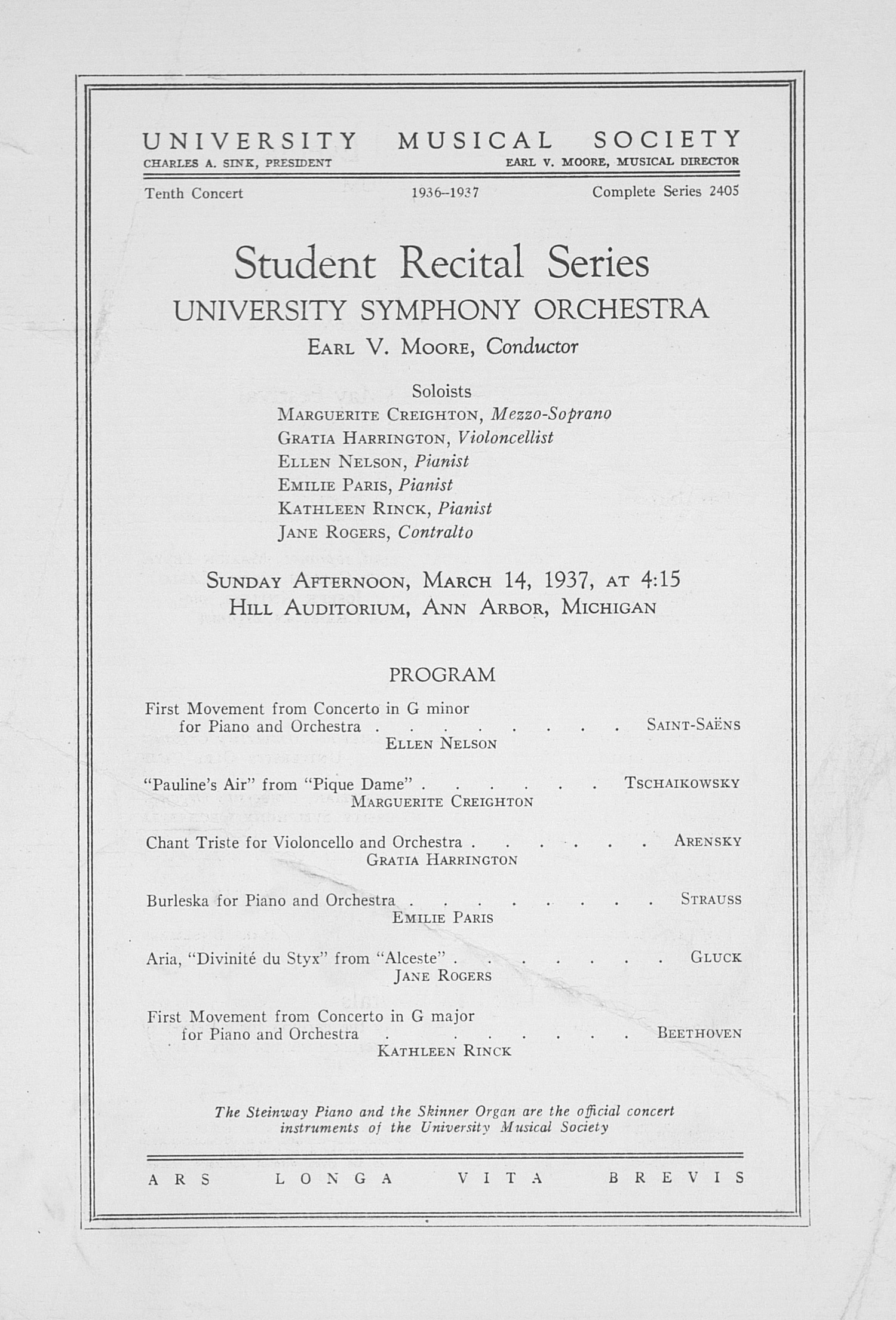 UMS Concert Program, March 14, 1937: Student Recital Series -- University Symphony Orchestra image
