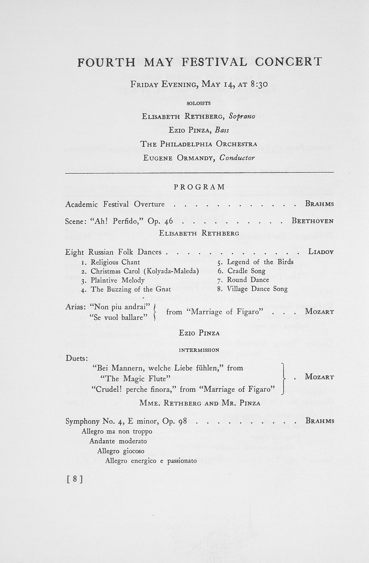 UMS Concert Program, May 12, 13, 14, And 15, 1937: The Forty-fourth Annual May Festival -- The Philadelphia Orchestra image