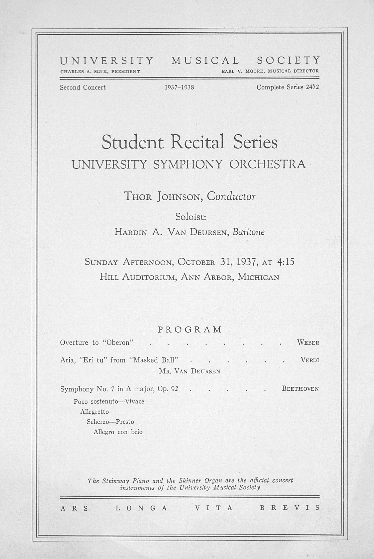 UMS Concert Program, October 31, 1937: Student Recital Series -- University Symphony Orchestra image