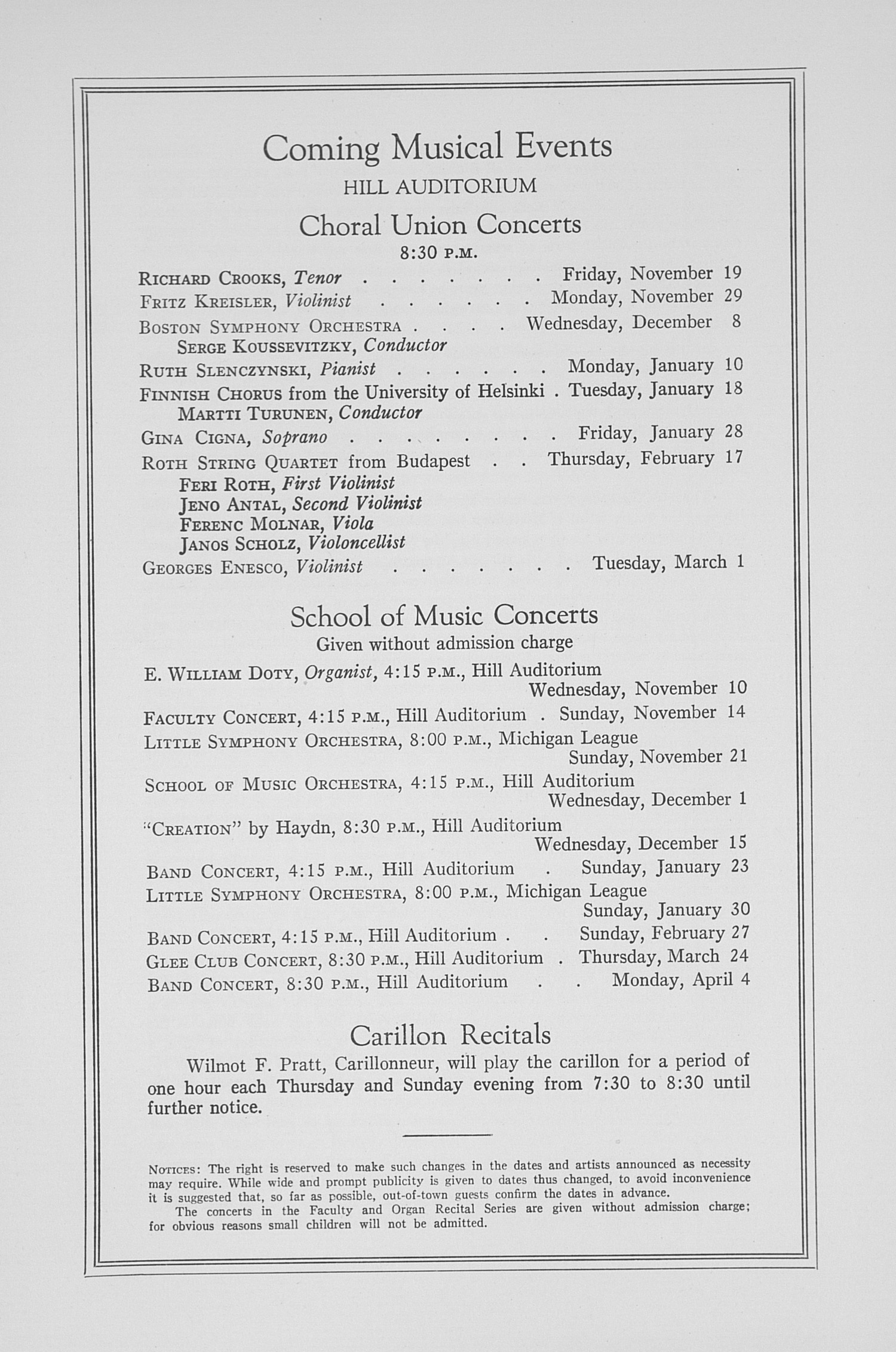 UMS Concert Program, November 9, 1937: Fifty-ninth Annual Choral Union Concert Series -- Cleveland Symphony Orchestra image