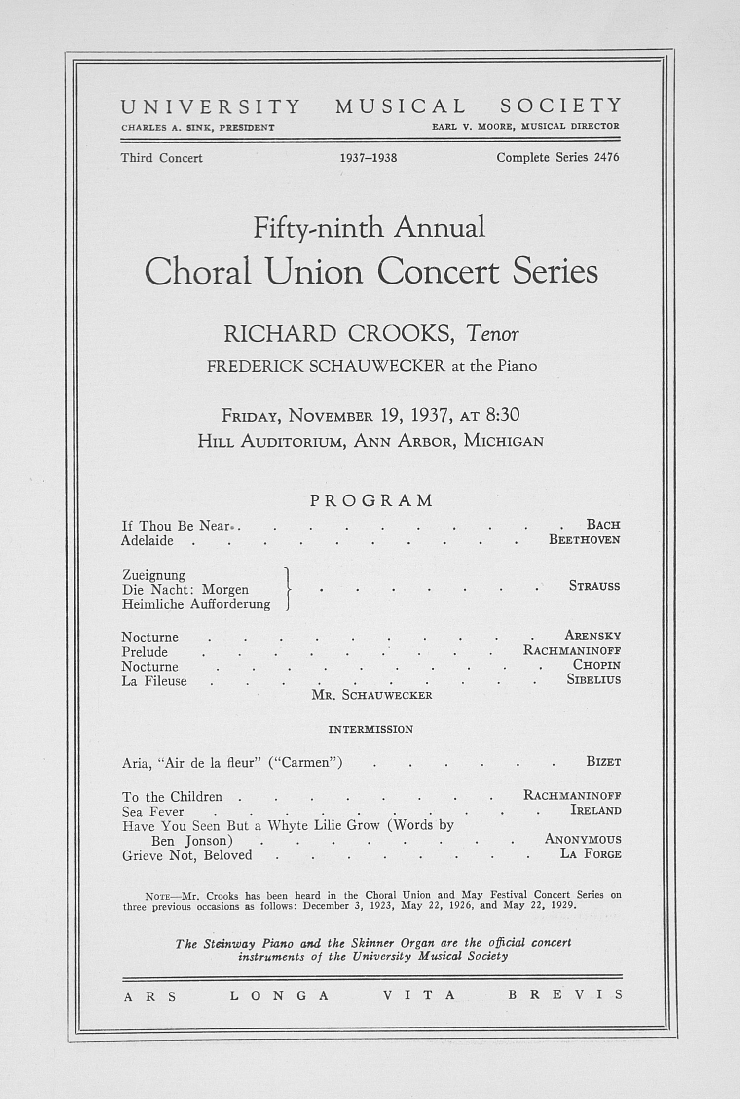 UMS Concert Program, November 19, 1937: Fifty-ninth Annual Choral Union Concert Series -- Richard Crooks image