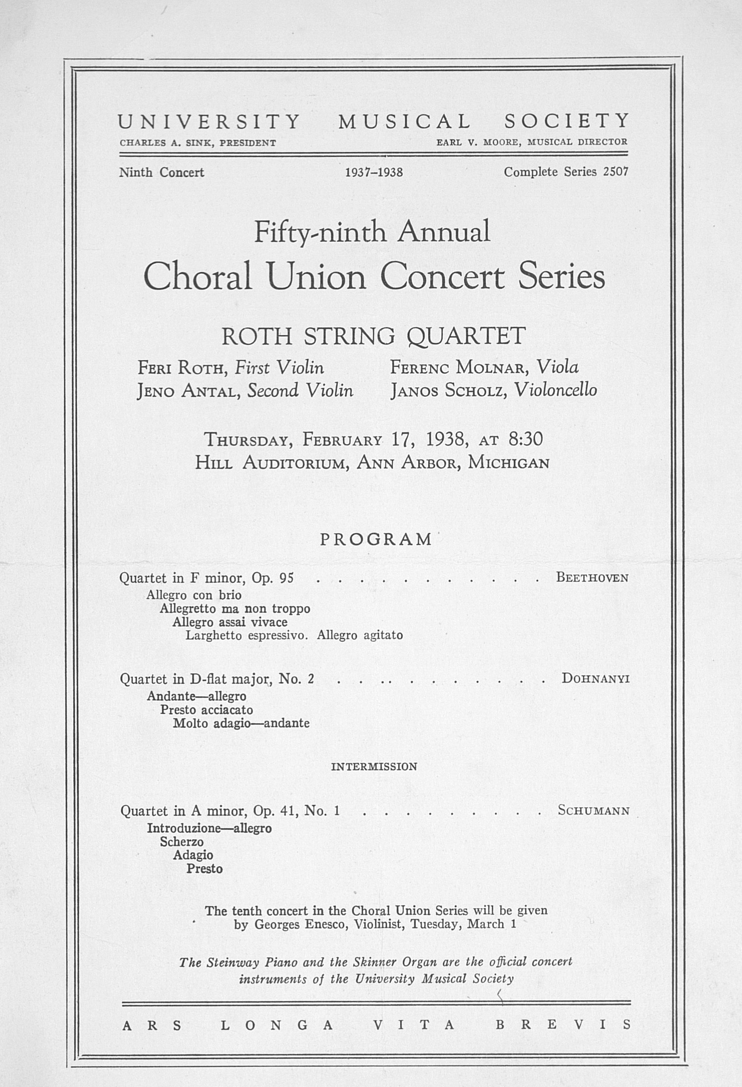 UMS Concert Program, February 17, 1938: Fifty-ninth Annual Choral Union Concert Series -- Roth String Quartet image