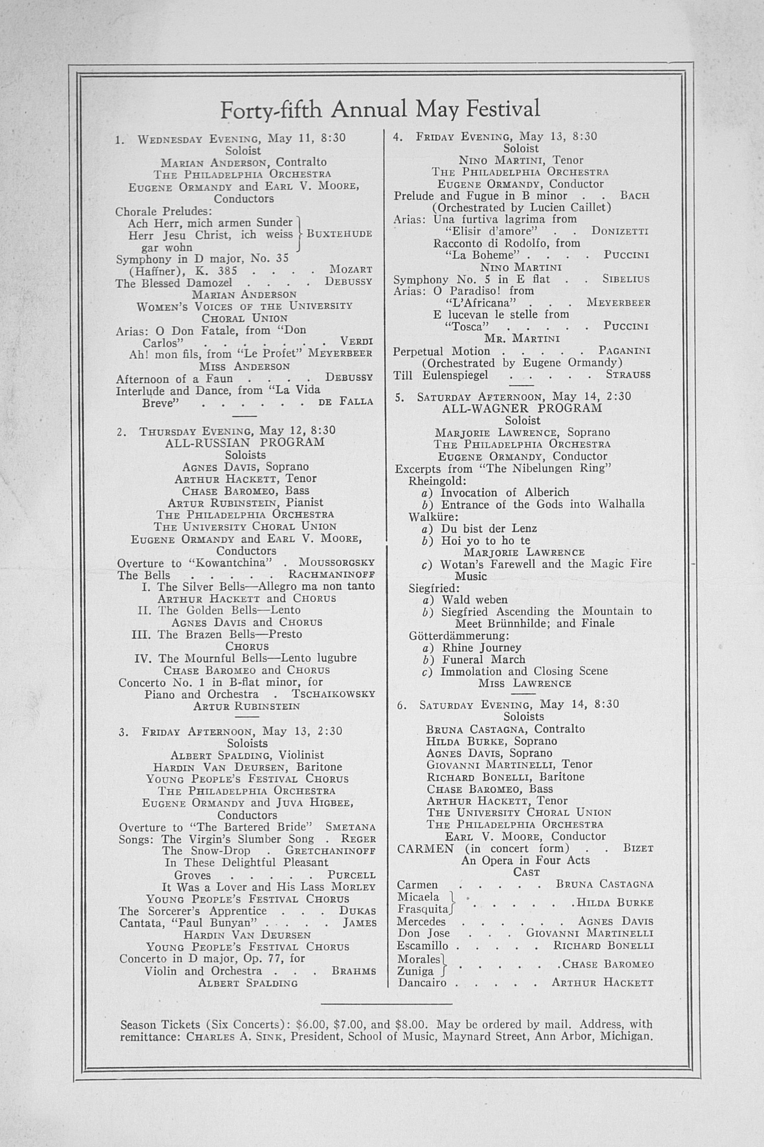 UMS Concert Program, March 1, 1938: Fifty-ninth Annual Choral Union Concert Series -- Georges Enesco image
