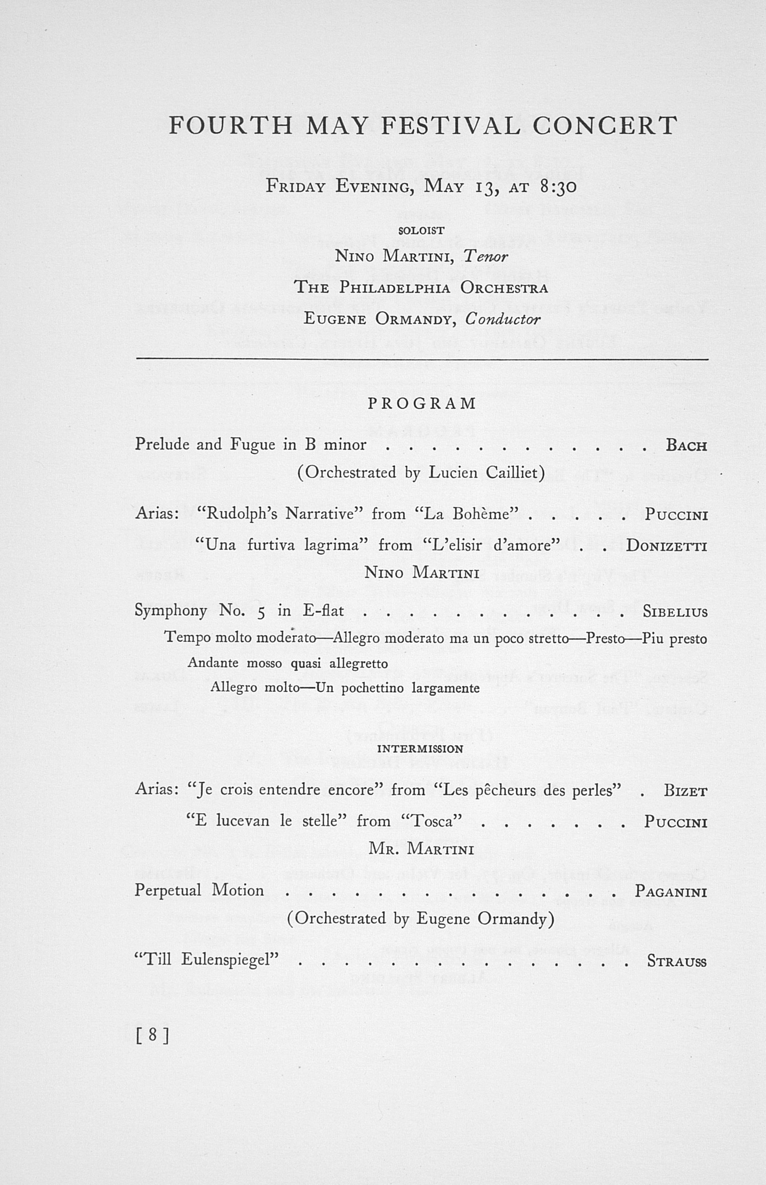 UMS Concert Program, May 11, 12, 13, And 14, 1938: The Forty-fifth Annual May Festival -- Glenn D. Mcgeoch image