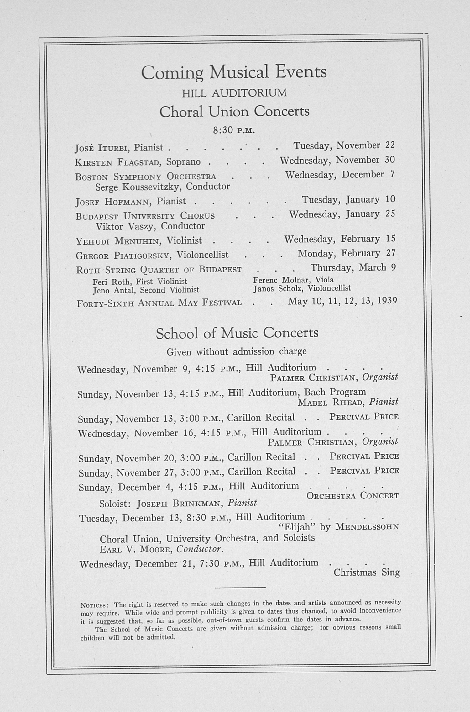 UMS Concert Program, November 7, 1938: Sixtieth Annual Choral Union Concert Series -- Cleveland Symphony Orchestra image