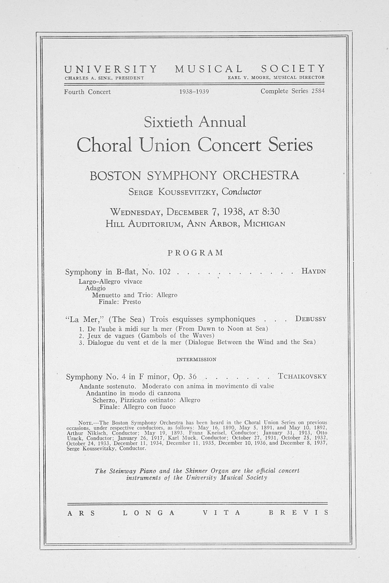 UMS Concert Program, December 7, 1938: Sixtieth Annual Choral Union Concert Series -- Boston Symphony Orchestra image