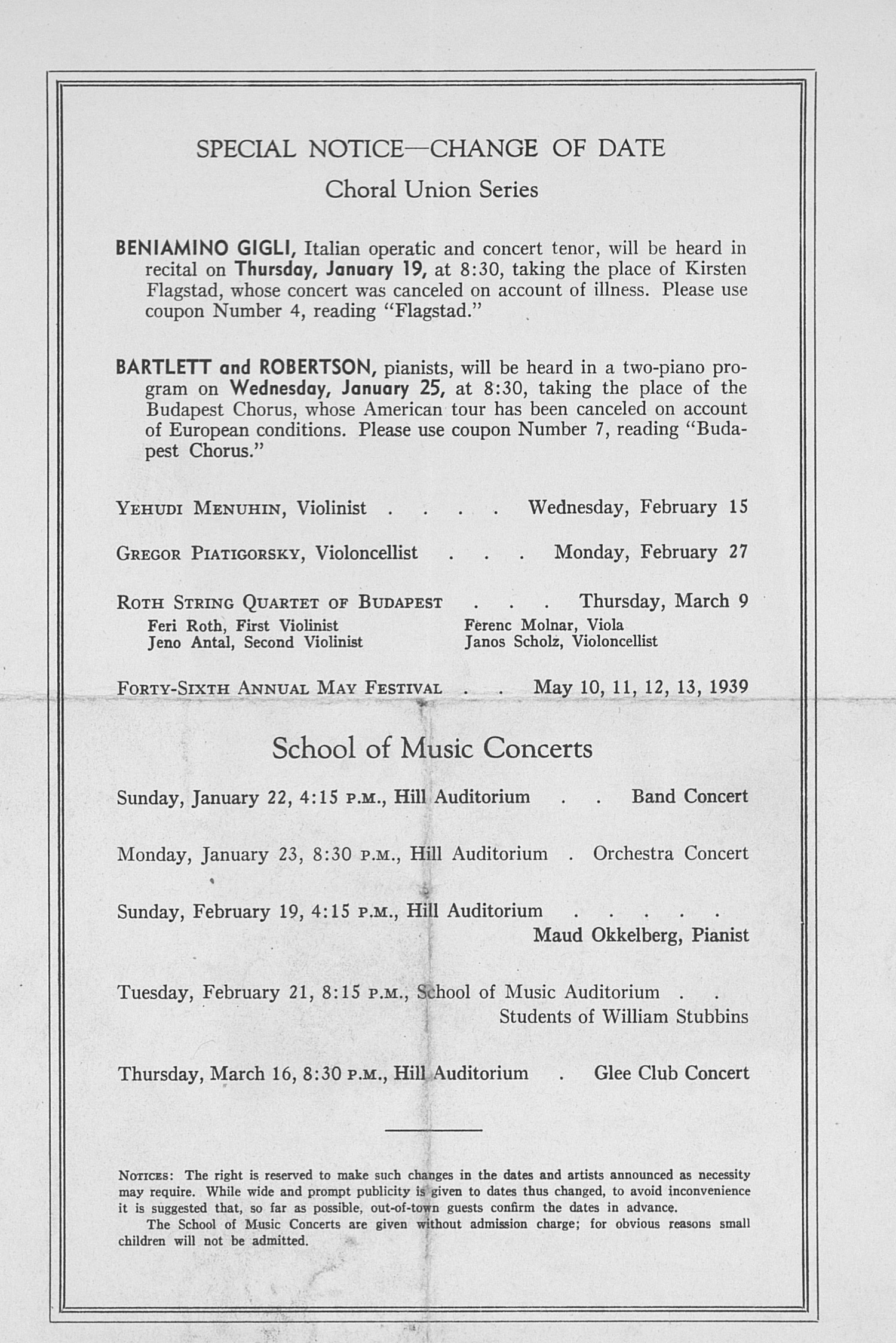 UMS Concert Program, January 18, 1939: Student Recital Series -- Helen Byrn image