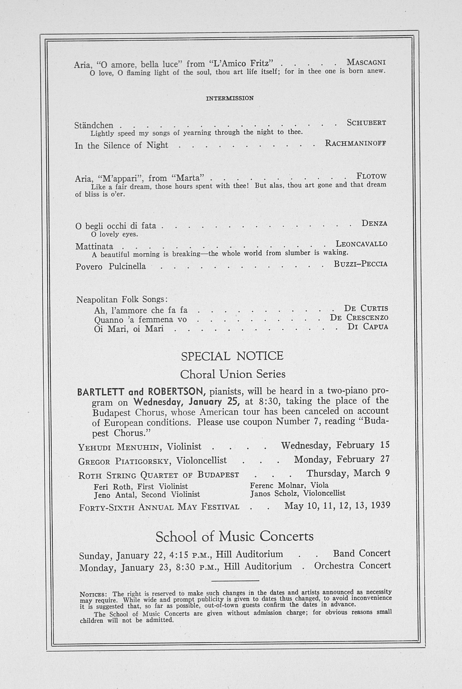 UMS Concert Program, January 19, 1939: Sixtieth Annual Choral Union Concert Series -- Beniamino Gigli image