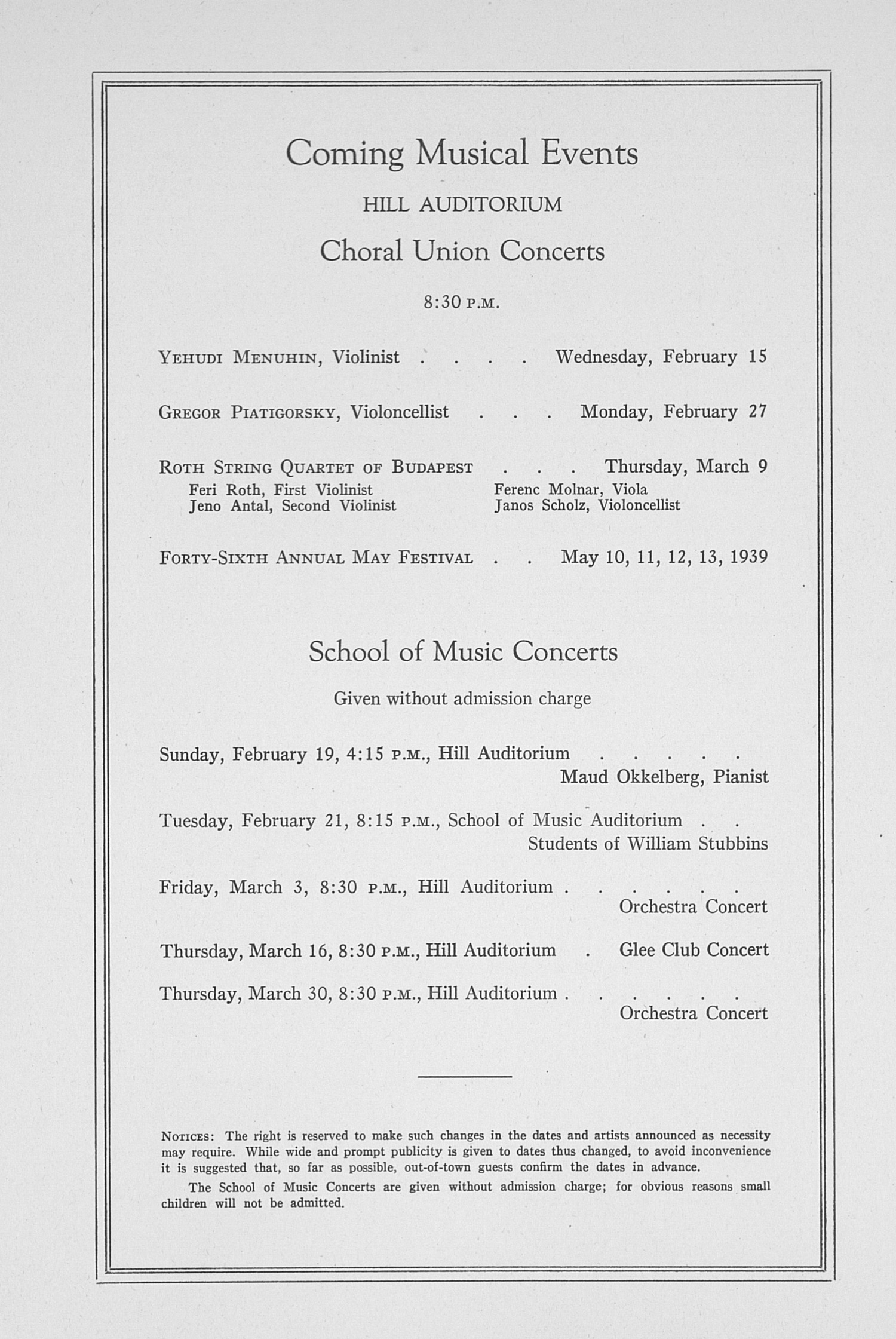 UMS Concert Program, January 25, 1939: Sixtieth Annual Choral Union Concert Series -- Bartlett And Robertson image