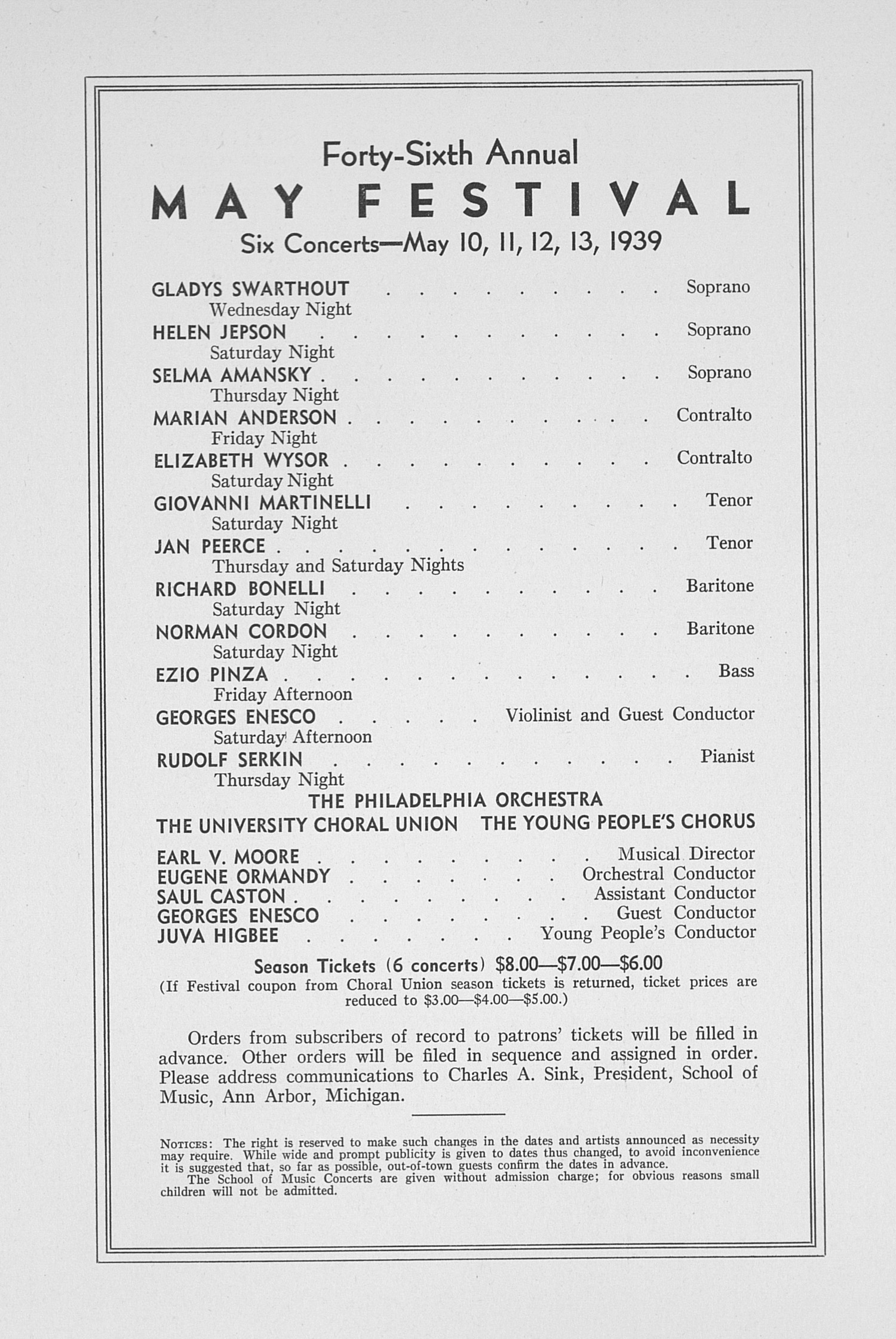 UMS Concert Program, February 15, 1939: Sixtieth Annual Choral Union Concert Series -- Yehudi Menuhin image