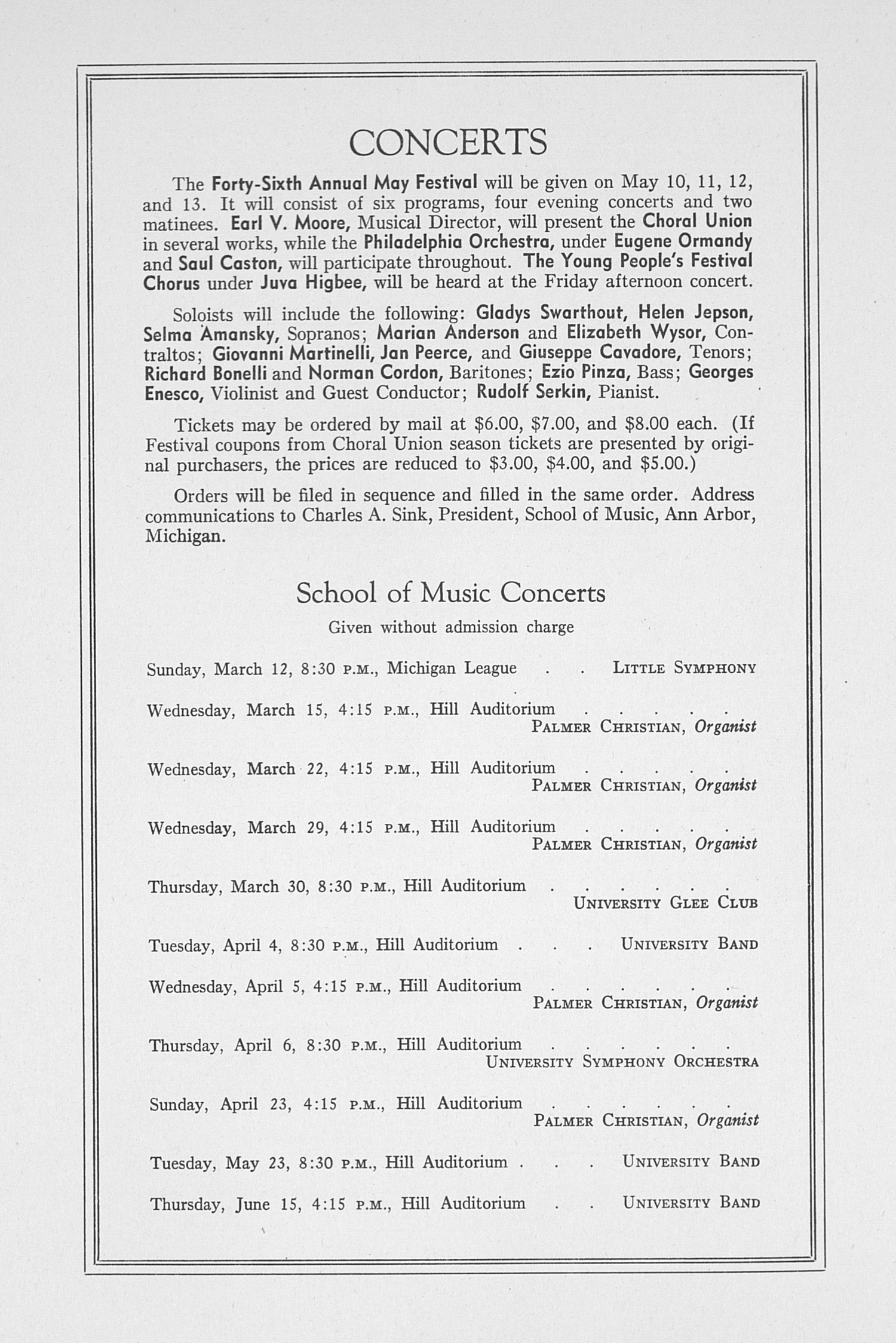 UMS Concert Program, March 9, 1939: Sixtieth Annual Choral Union Concert Series -- Roth String Quartet image