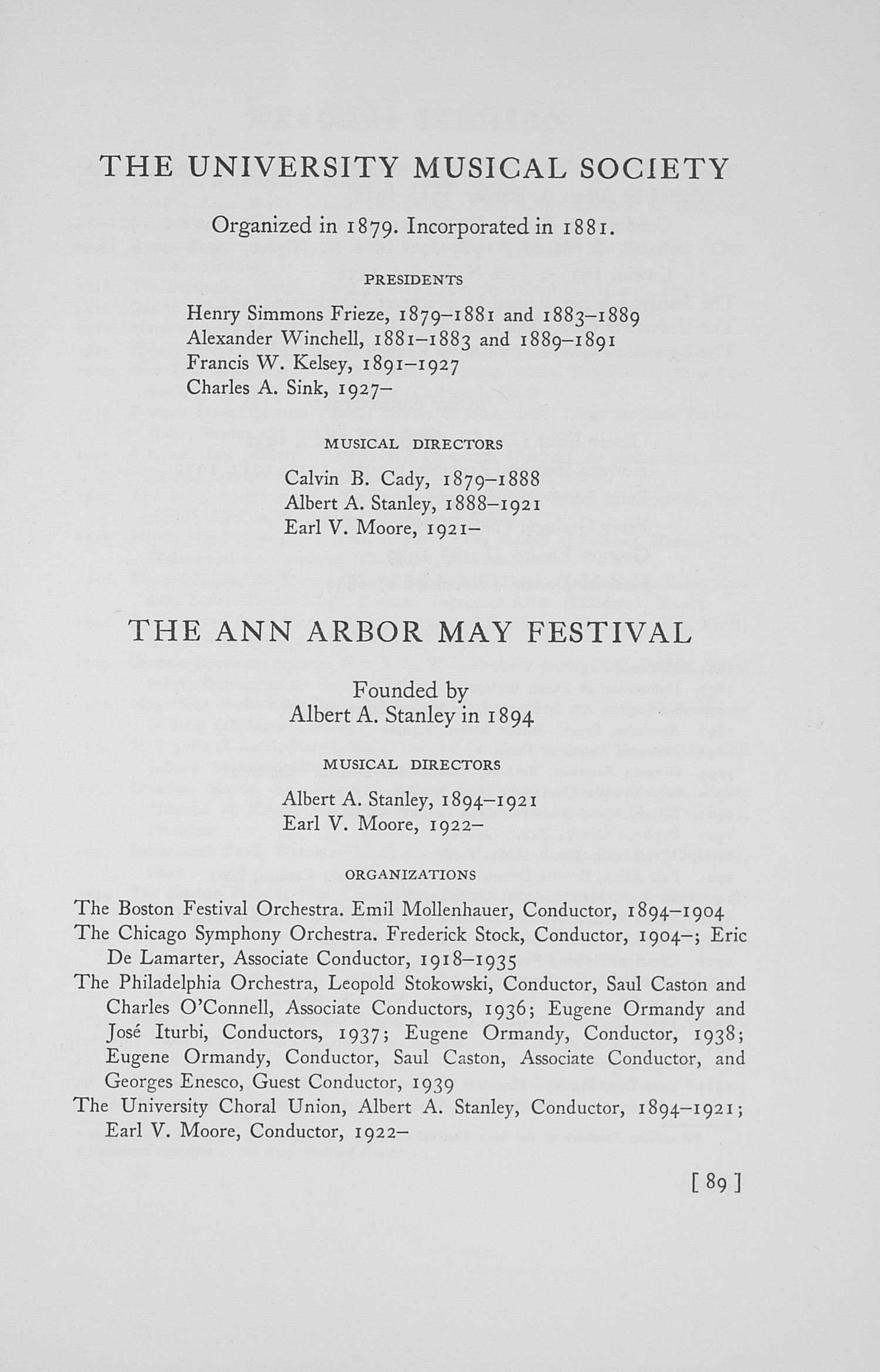 UMS Concert Program, May 10, 11, 12, And 13, 1939: The Forty-sixth Annual May Festival -- Glenn D. Mcgeoch image