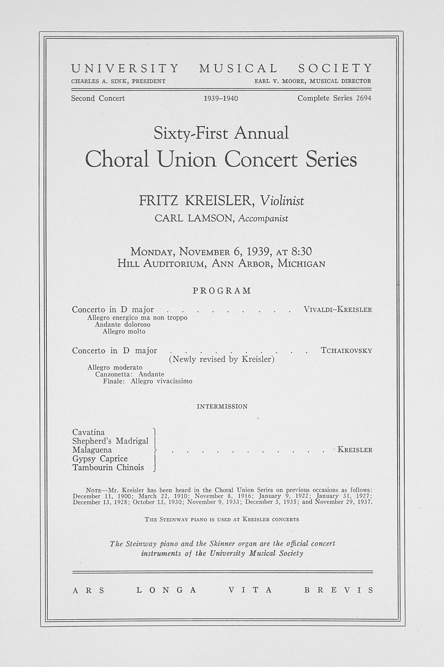 UMS Concert Program, November 6, 1939: Sixty-first Annual Choral Union Concert Series -- Fritz Kreisler image