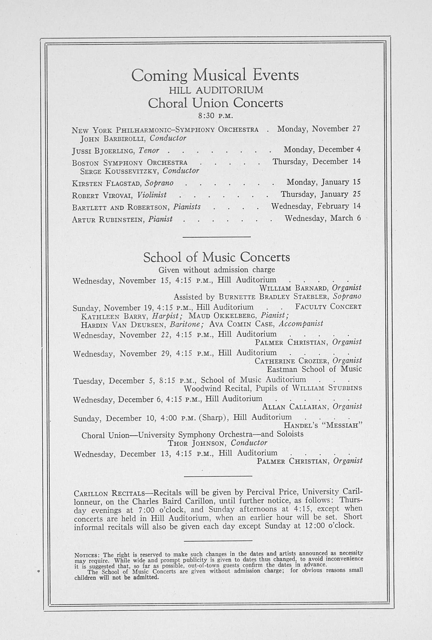 UMS Concert Program, November 13, 1939: Sixty-first Annual Choral Union Concert Series -- Alexander Kipnis image