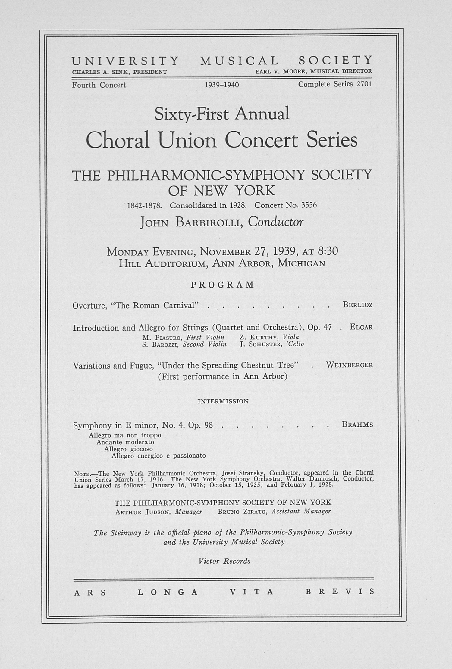 UMS Concert Program, November 27, 1939: Choral Union Concert Series -- John Barbirolli image
